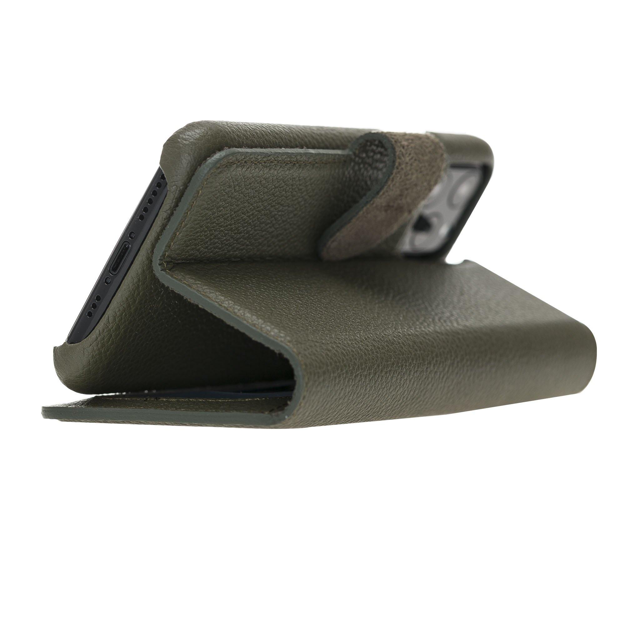 Solo Pelle Lederhülle kompatibel für iPhone 11 Pro in 5.8 Zoll abnehmbare Hülle Harvard (2in1) (Vollleder Nachtgrün)