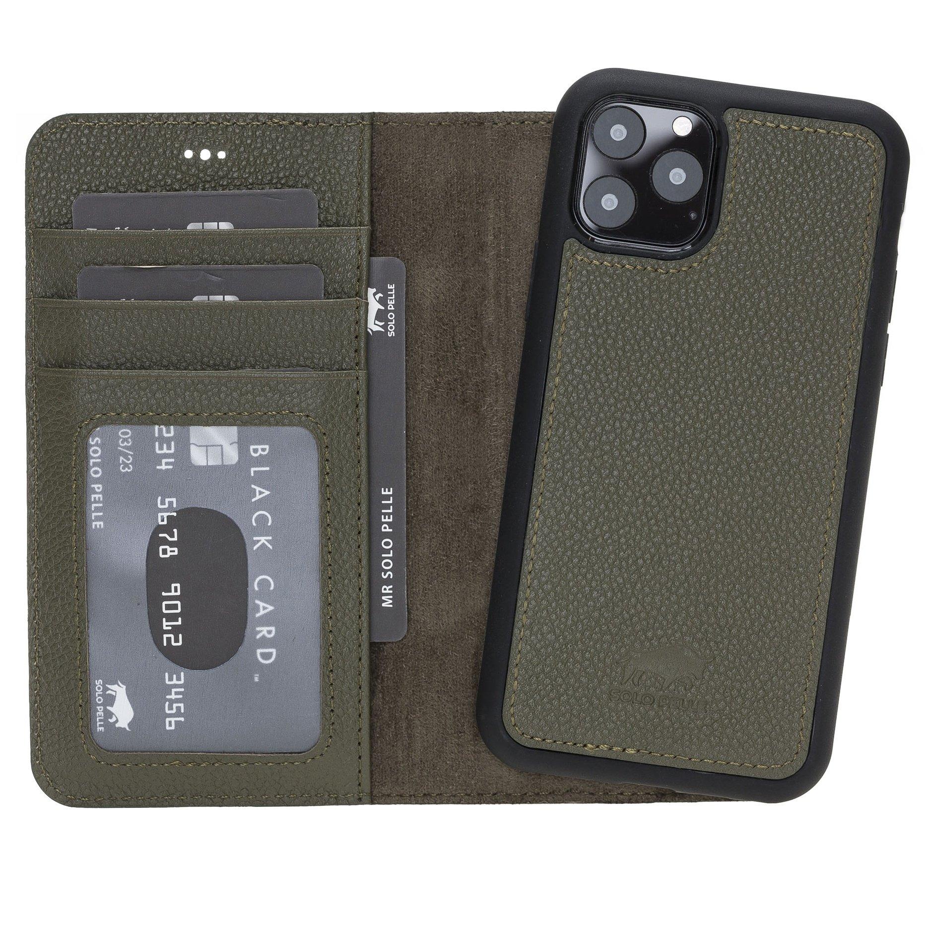 Solo Pelle Lederhülle kompatibel für iPhone 11 Pro in 5.8 Zoll abnehmbare Hülle Harvard (2in1) (Nachtgrün)