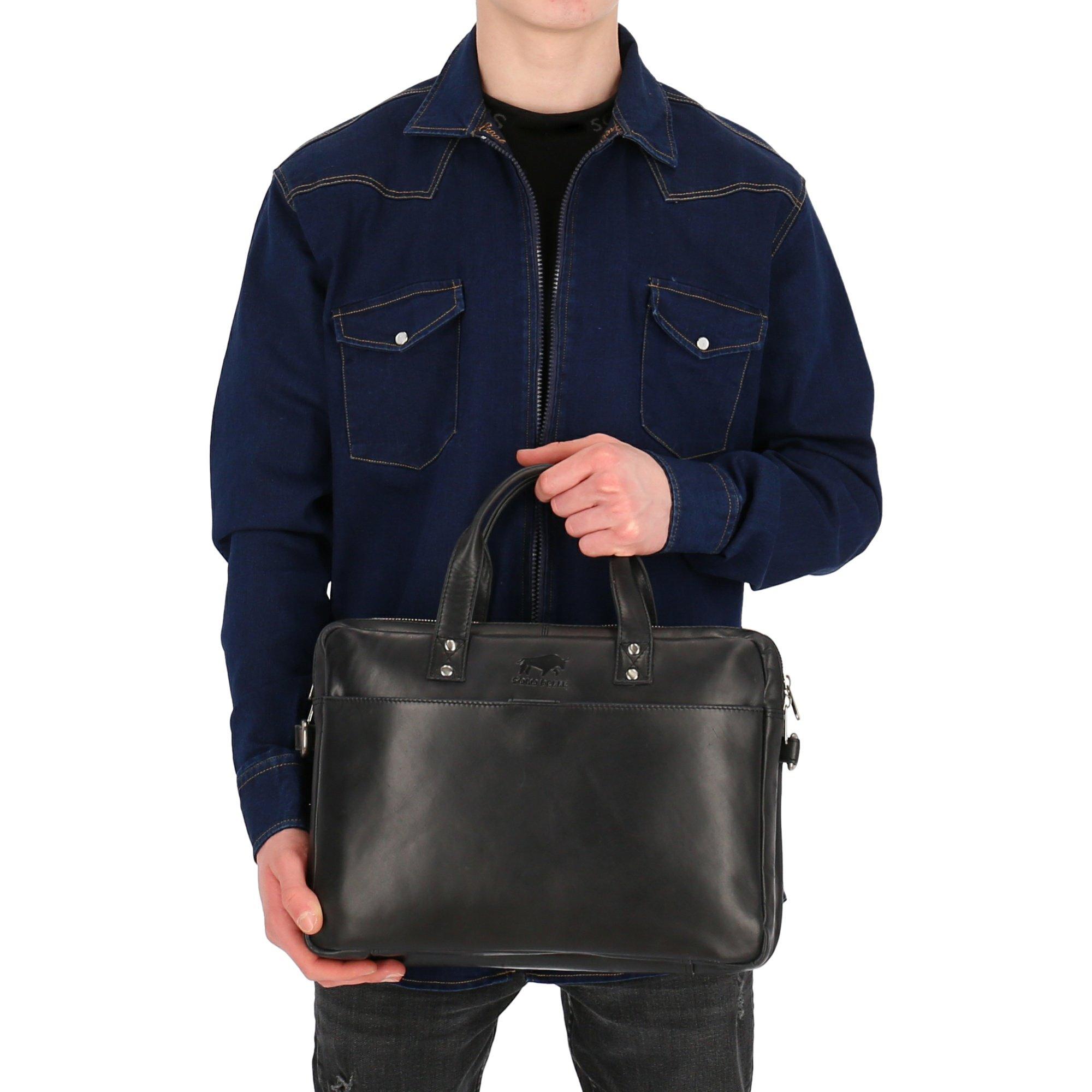 Solo Pelle Businesstasche aus echtem Leder passen für Apple MacBook bis 13,3 Zoll (Vintage Schwarz)