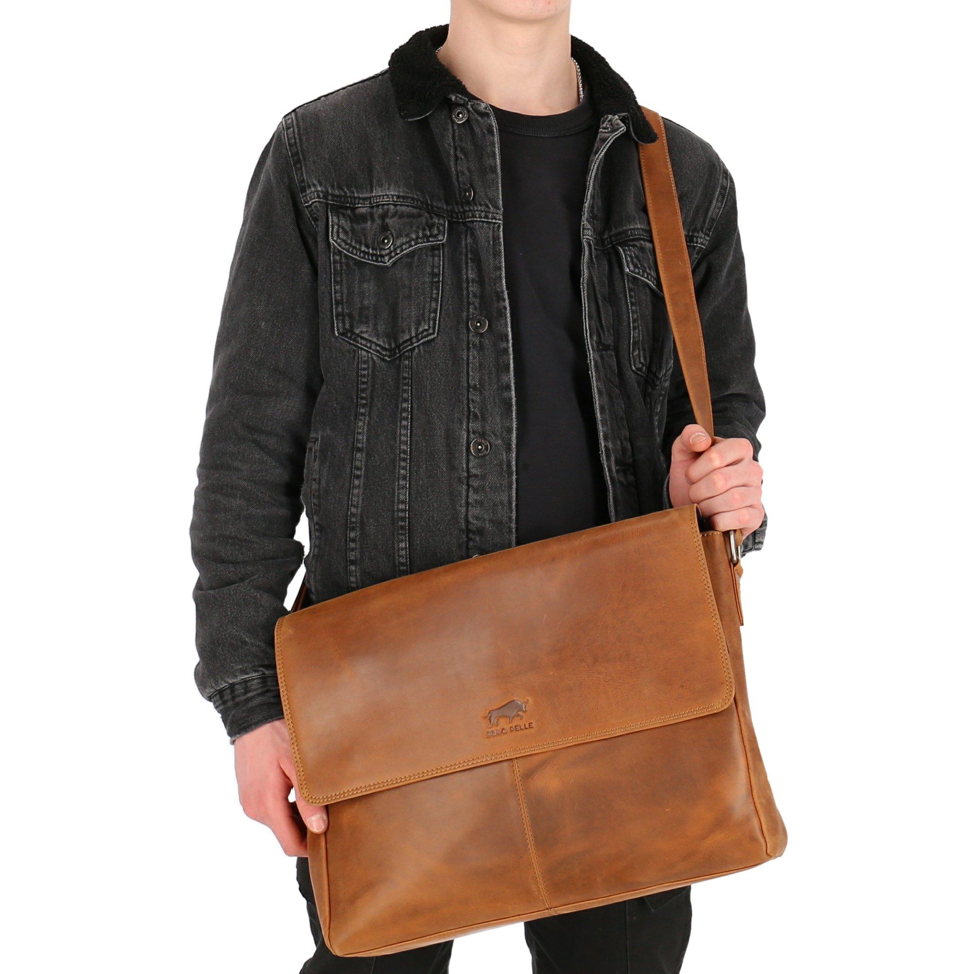 Solo Pelle Business Messenger Tasche aus echtem Leder Model: Henry 15 Zoll (Cognac Braun)