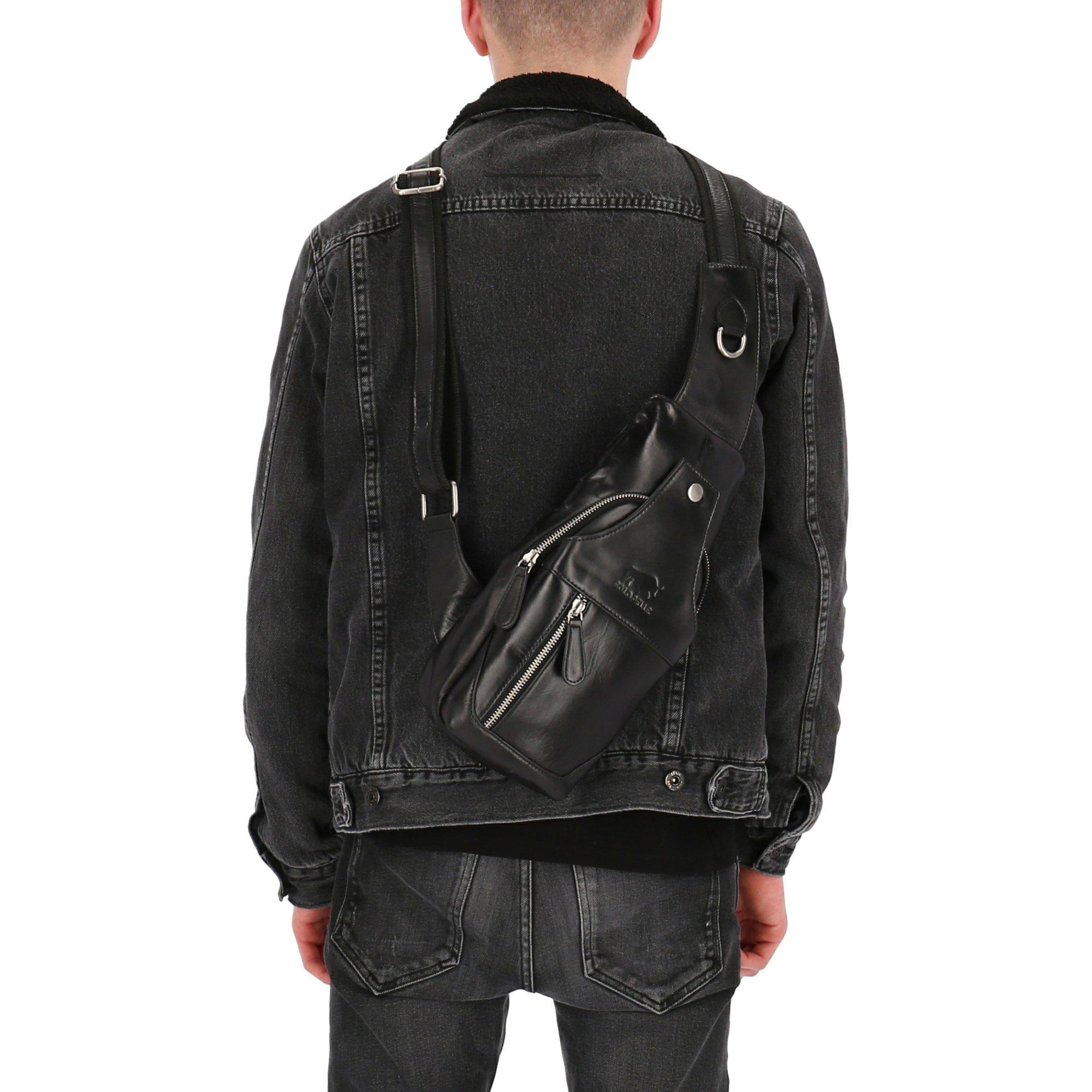Solo Pelle Bodybag aus echtem Leder/Umhängetasche, Reisetasche Schultertasche Danny (Schwarz)