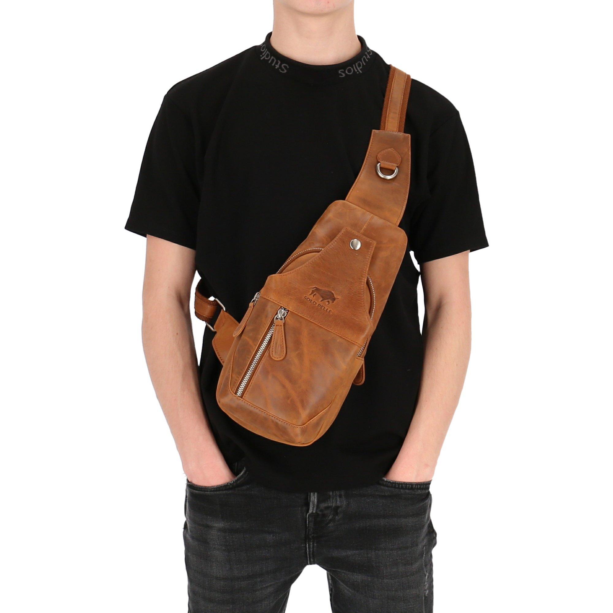 Solo Pelle Bodybag aus echtem Leder/Umhängetasche, Reisetasche Schultertasche Danny (Vintage Braun)