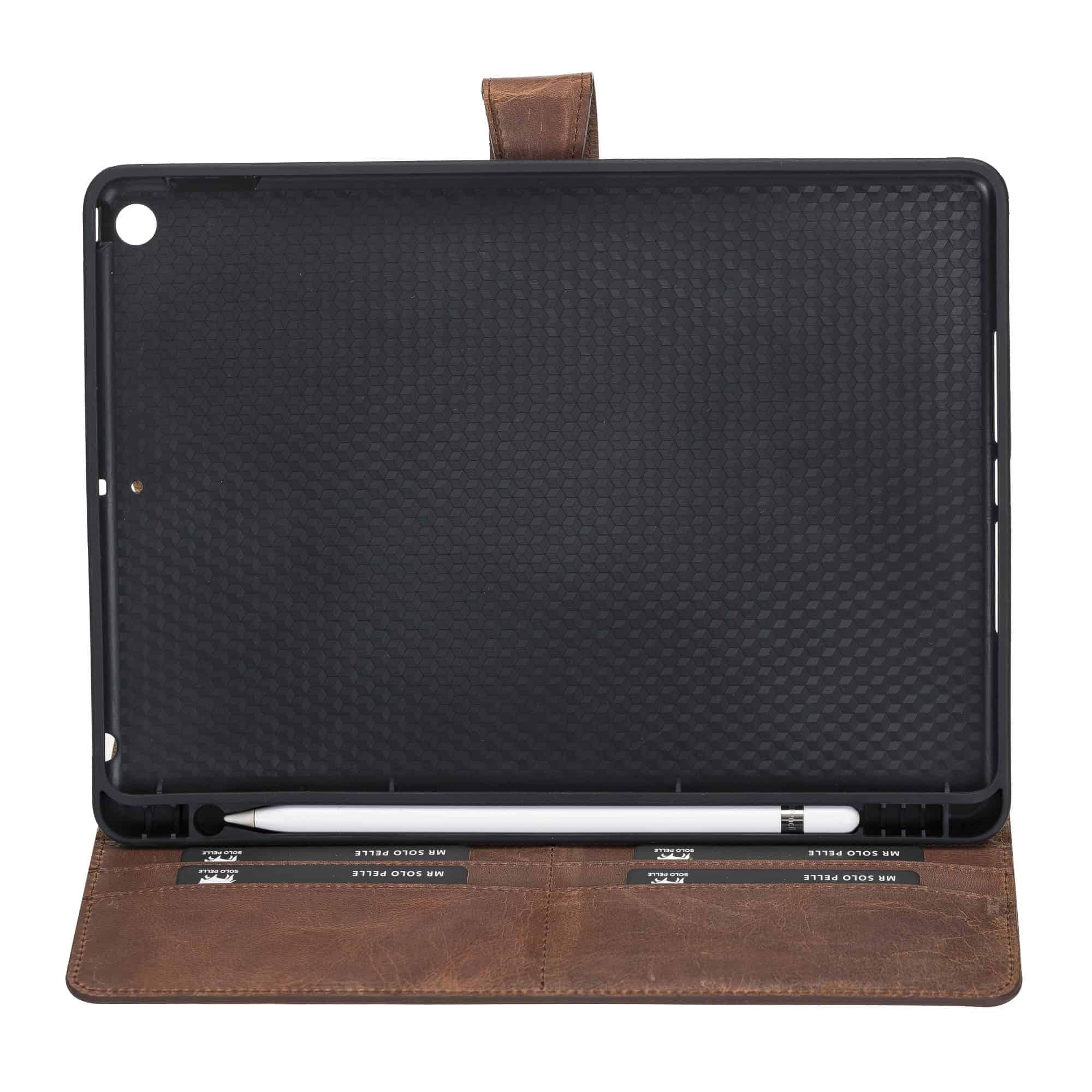 Solo Pelle magnetische abnehmbare Hülle Harvard geeignet für Apple iPad 10,2 Zoll 2019 7.Generation Hülle Leder Case aus echtem Leder. Unterstützt Pencil 2 und magnetisches Laden. (Schwarz)