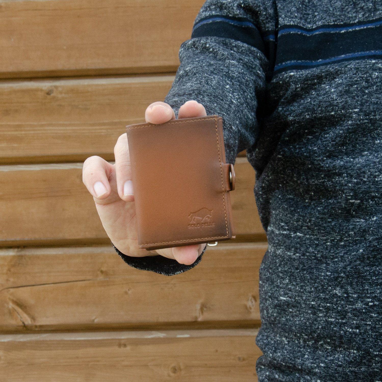 Slim Wallet mit Münzfach [12 Karten] Riva [RFID-Schutz] mit Münzfach (Cognac Braun)