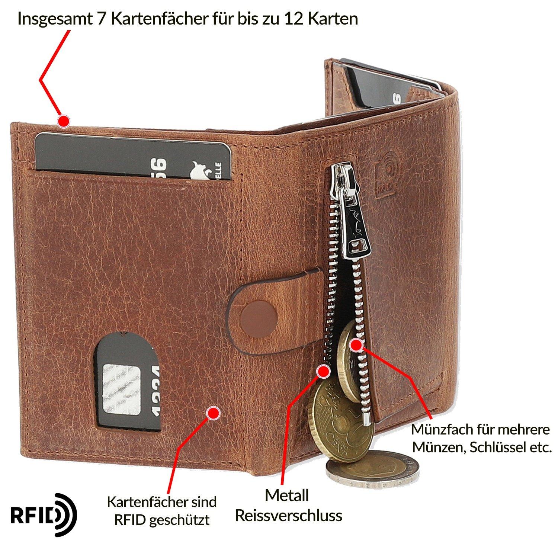 Slim Wallet mit Münzfach [12 Karten] Riva [RFID-Schutz] mit Münzfach (Vintage Braun)