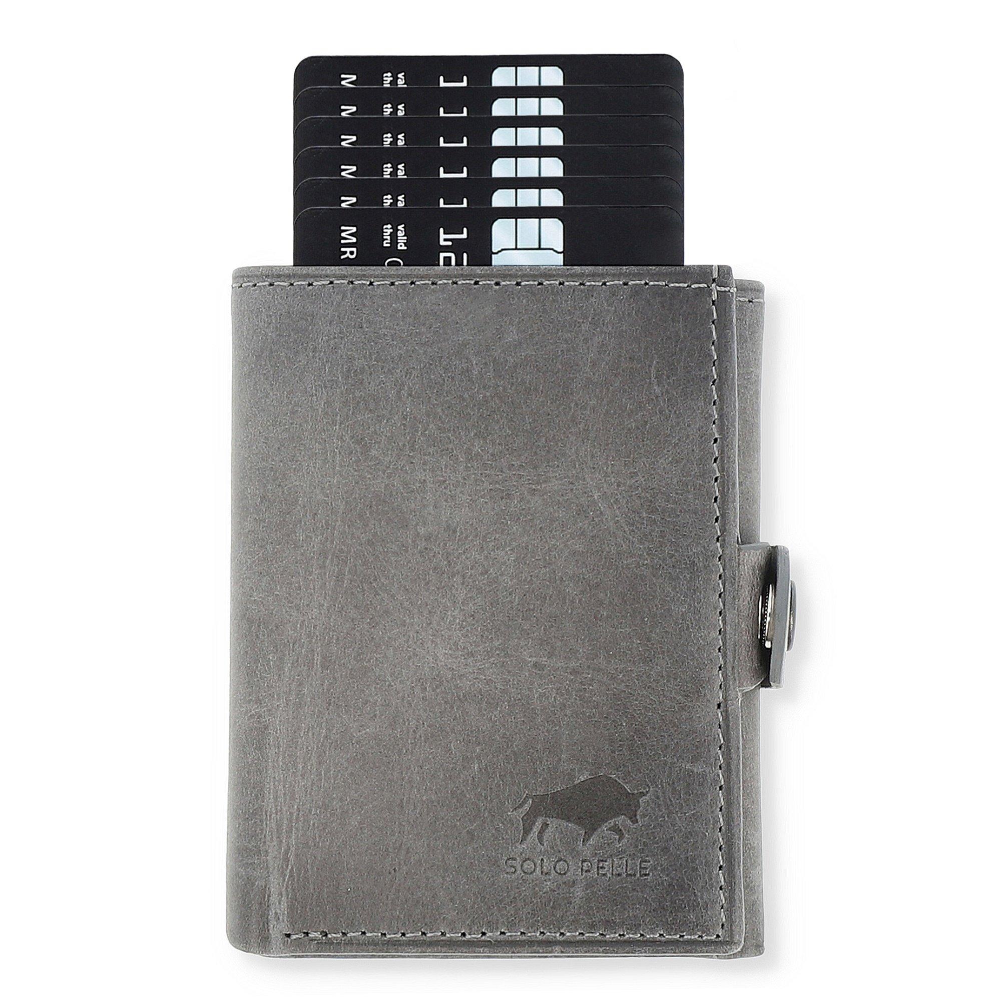 Slim Wallet mit Münzfach [12 Karten] Riva [RFID-Schutz] mit Münzfach (Steingrau)