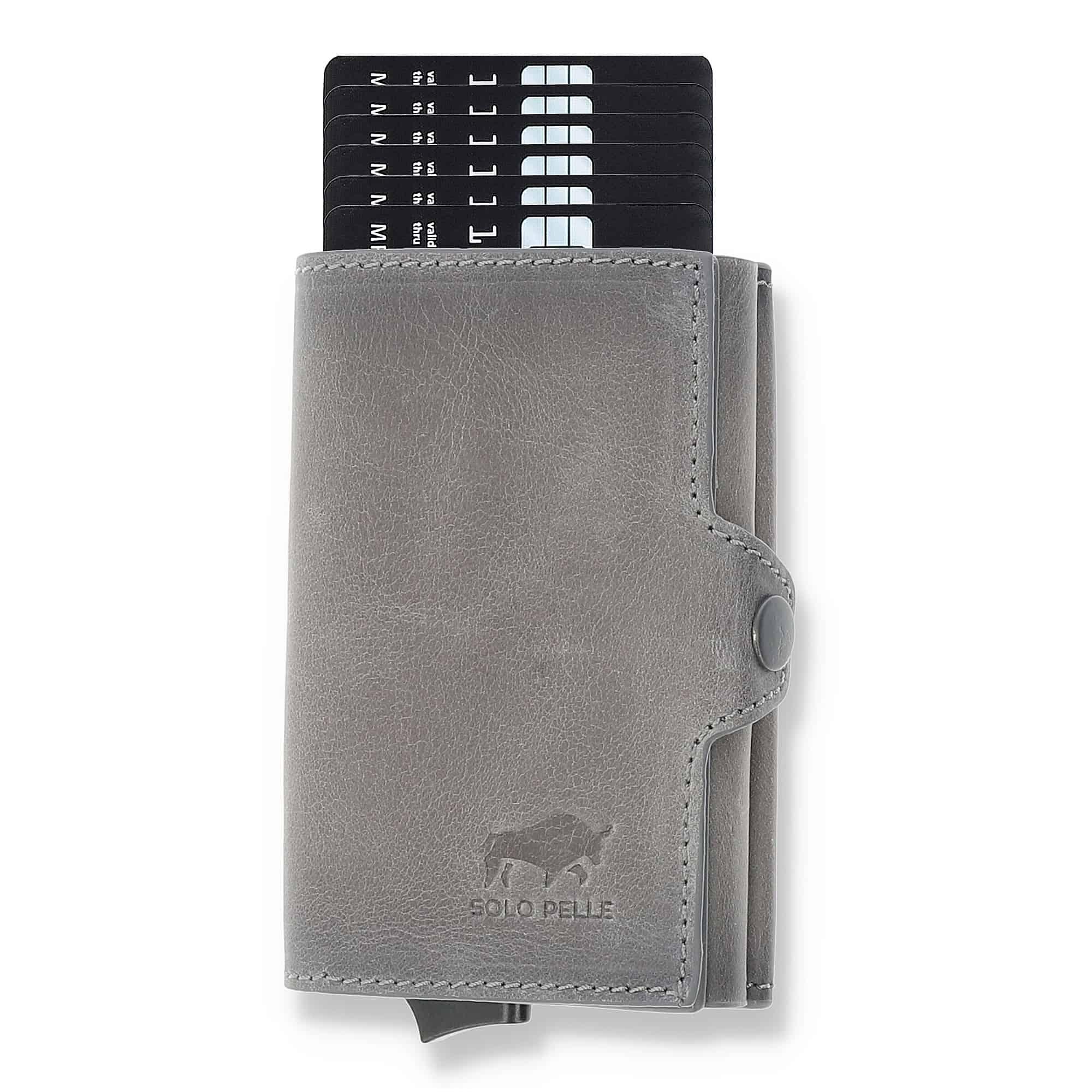 """Kreditkartenetui """"Mech"""" mit RFID Schutz (Steingrau mit Scheinfach + Münzfach)"""