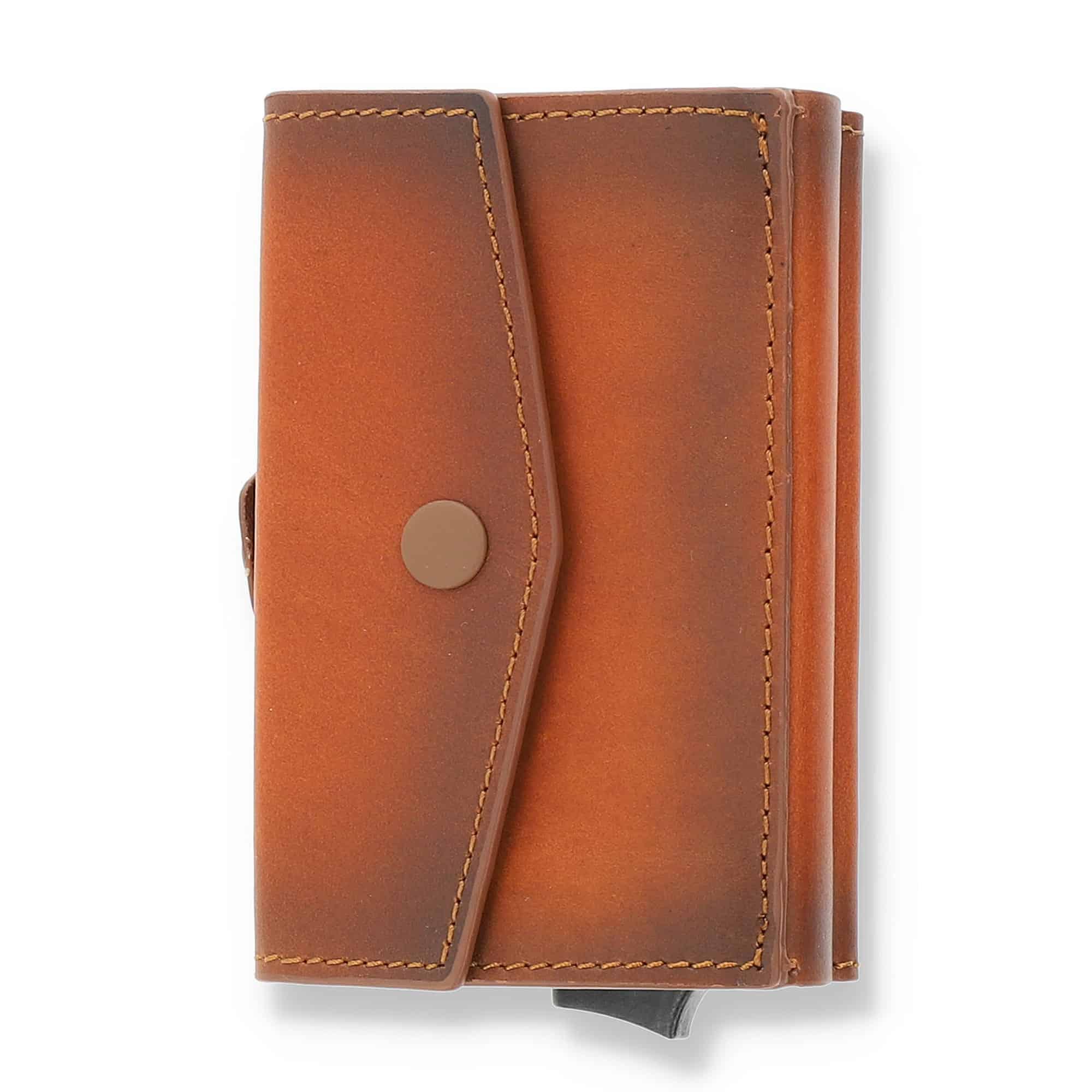 """Kreditkartenetui """"Mech"""" mit RFID Schutz (Cognac Braun mit Scheinfach + Münzfach)"""