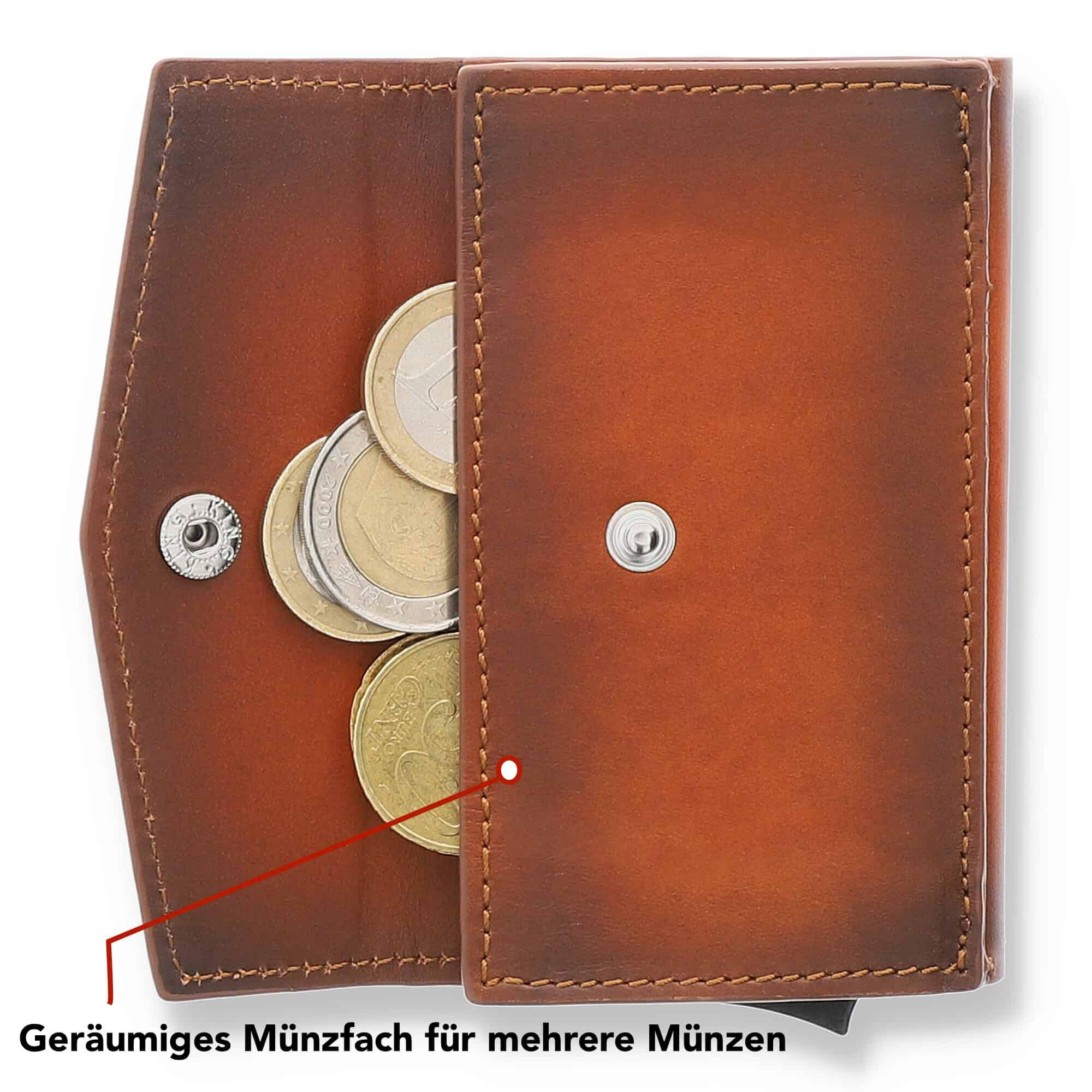 """Kreditkartenetui """"Mech"""" mit RFID Schutz (Schwarz mit Scheinfach + Münzfach)"""