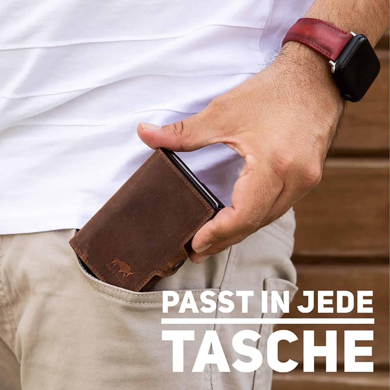 """Kreditkartenetui """"Mech"""" mit RFID Schutz (Vintage Braun mit Scheinfach + Münzfach)"""