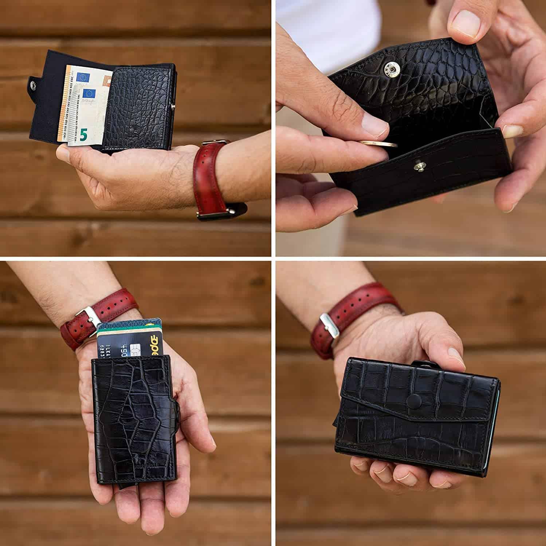 """Kreditkartenetui """"Mech"""" mit RFID Schutz (Kroko Schwarz mit Scheinfach + Münzfach)"""