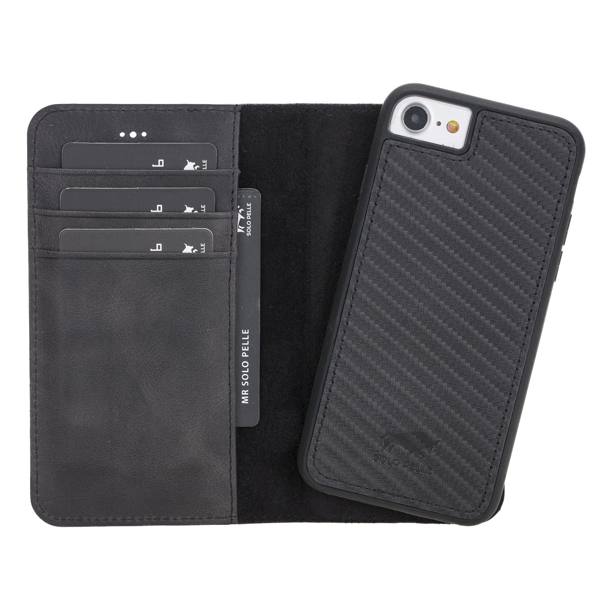 Solo Pelle iPhone SE 2020 / 7 / 8 abnehmbare Lederhülle (2in1) inkl. Kartenfächer für das original iPhone 7/8 (Carbon Prägung)