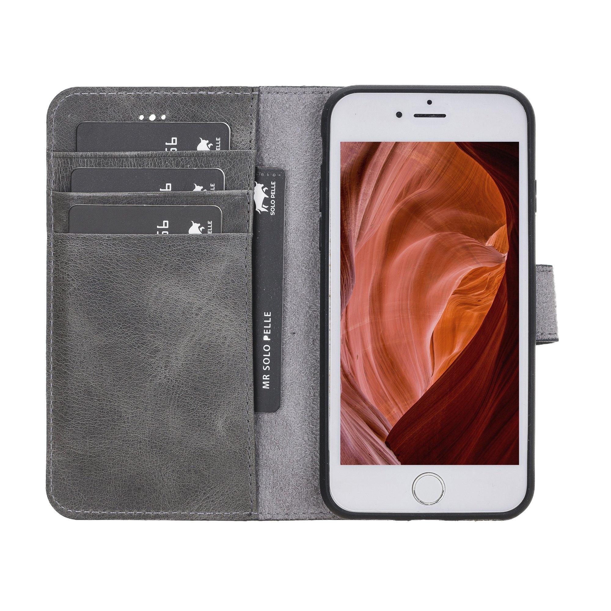 Solo Pelle iPhone SE 2020 / 7 / 8 abnehmbare Lederhülle (2in1) inkl. Kartenfächer für das original iPhone 7/8 (Steingrau)