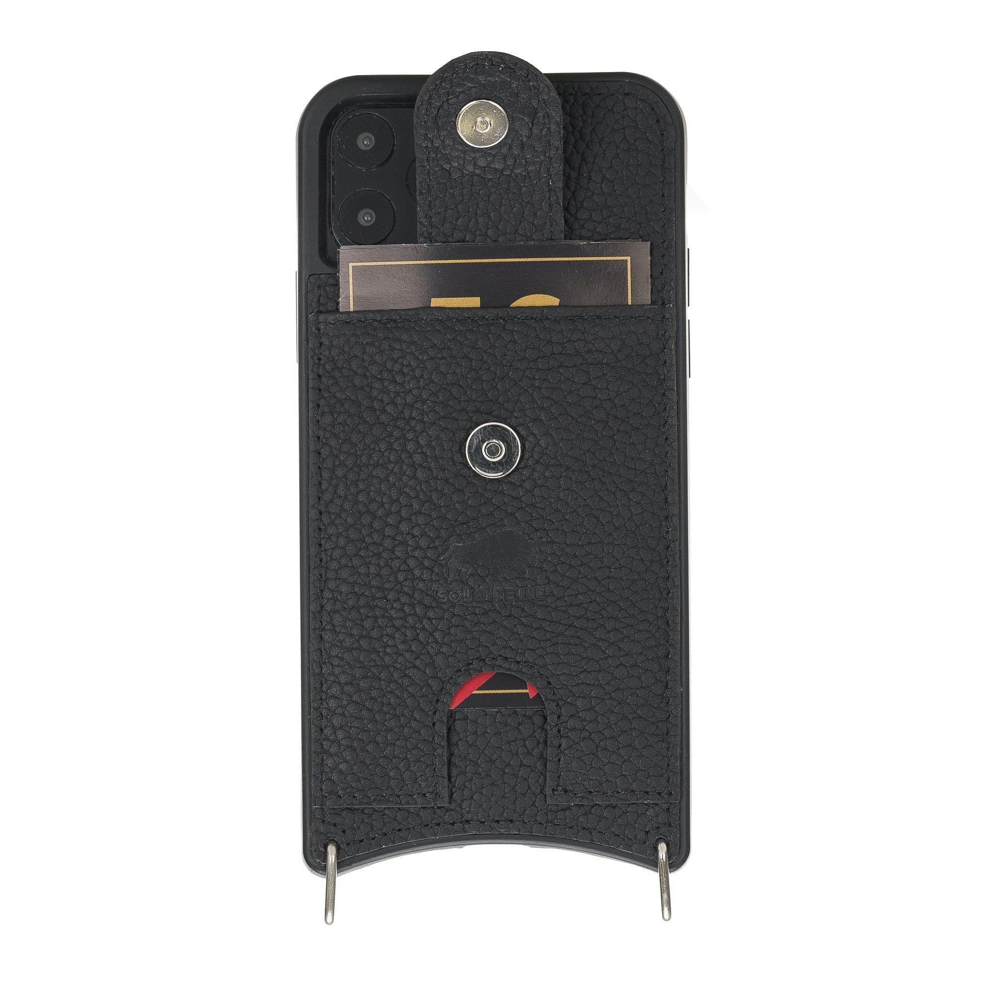 """Lederhülle """"Necklace"""" für das iPhone 11 Pro in 5.8 Zoll in Matt Schwarz (inkl.Umhängeriemen)"""