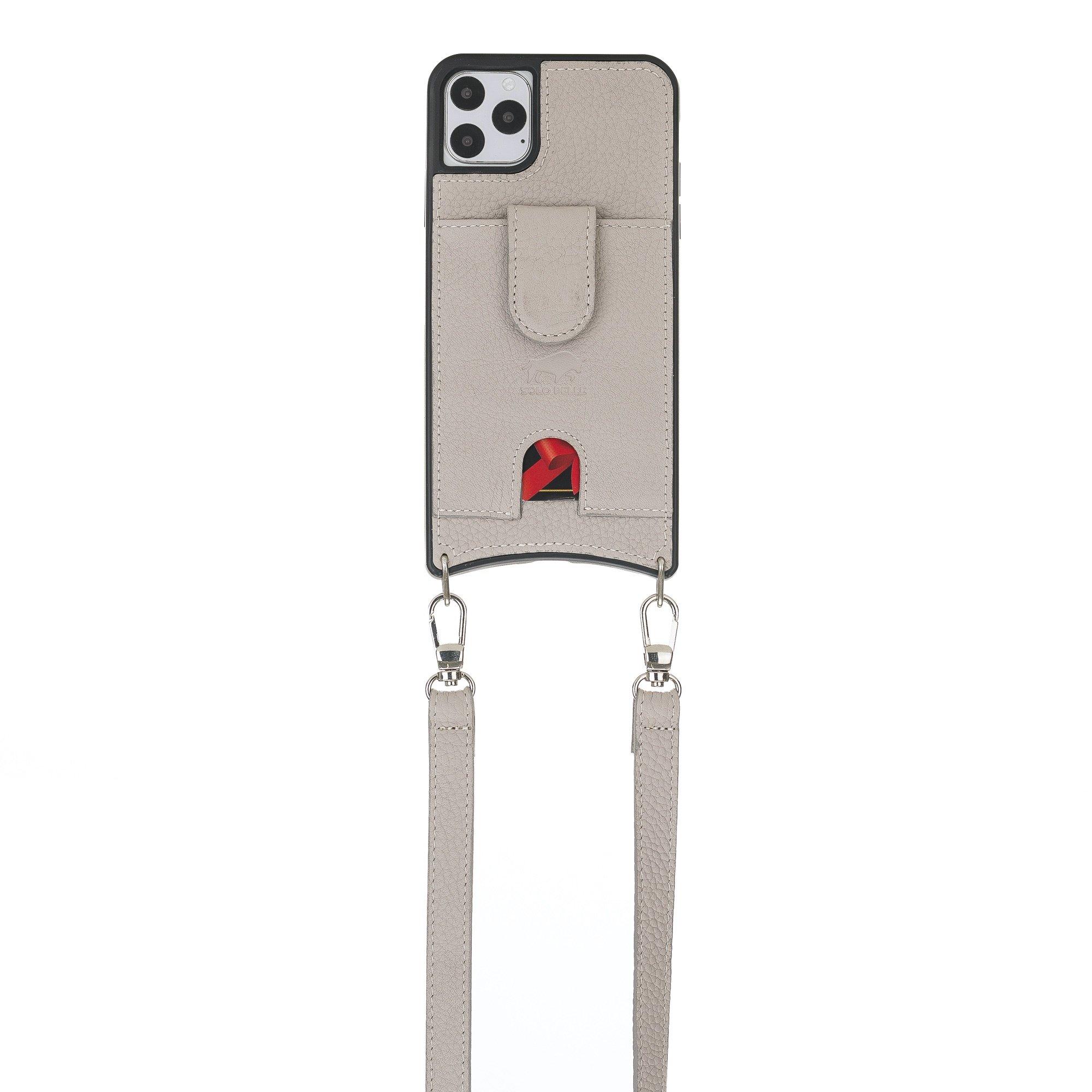 """Lederhülle """"Necklace"""" für das iPhone 11 Pro in 5.8 Zoll in Taupe (inkl.Umhängeriemen)"""