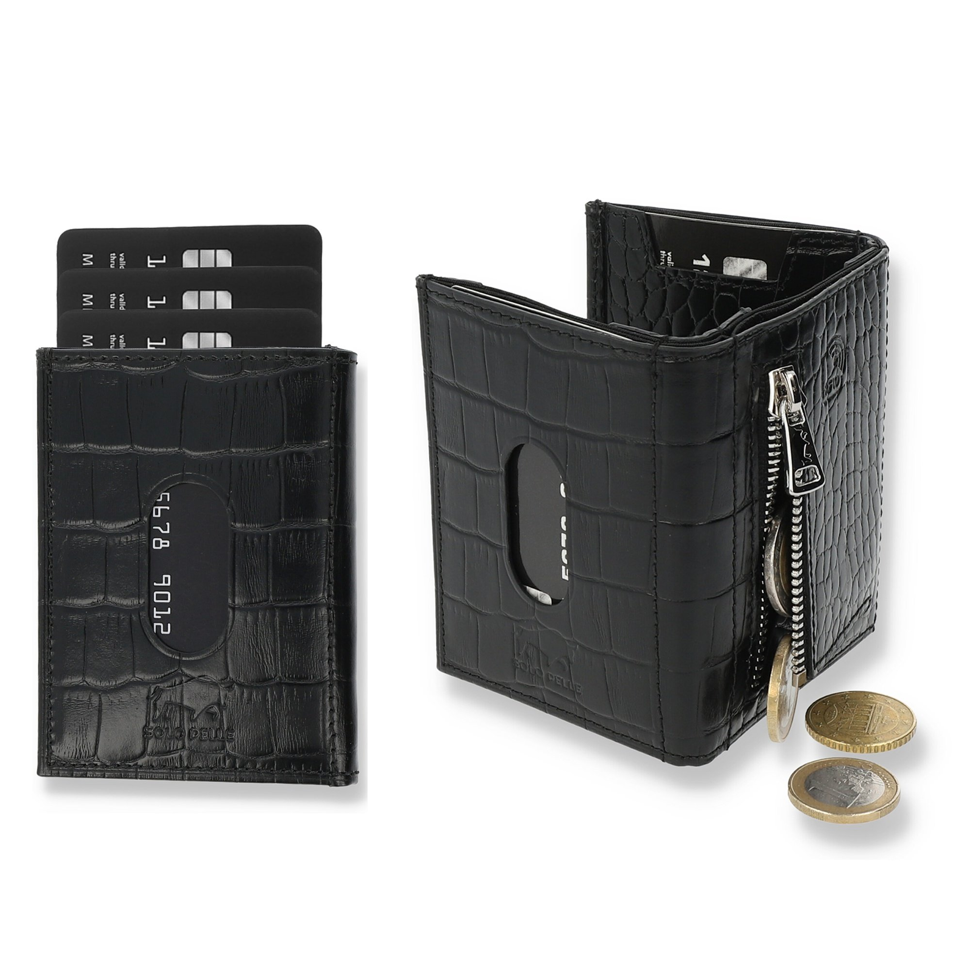 Slim Wallet mit Münzfach Riga [RFID-Schutz] mit Münzfach (Vintage Braun)