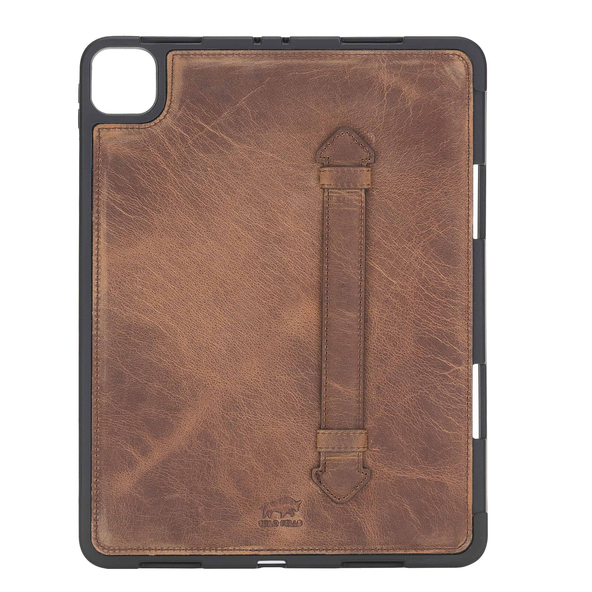 "Solo Pelle Hülle geeignet für Apple iPad Pro 11"" 2020 Echtleder Case aus echtem Leder. Unterstützt Pencil inkl. Ledergriff (Vintage Braun)"
