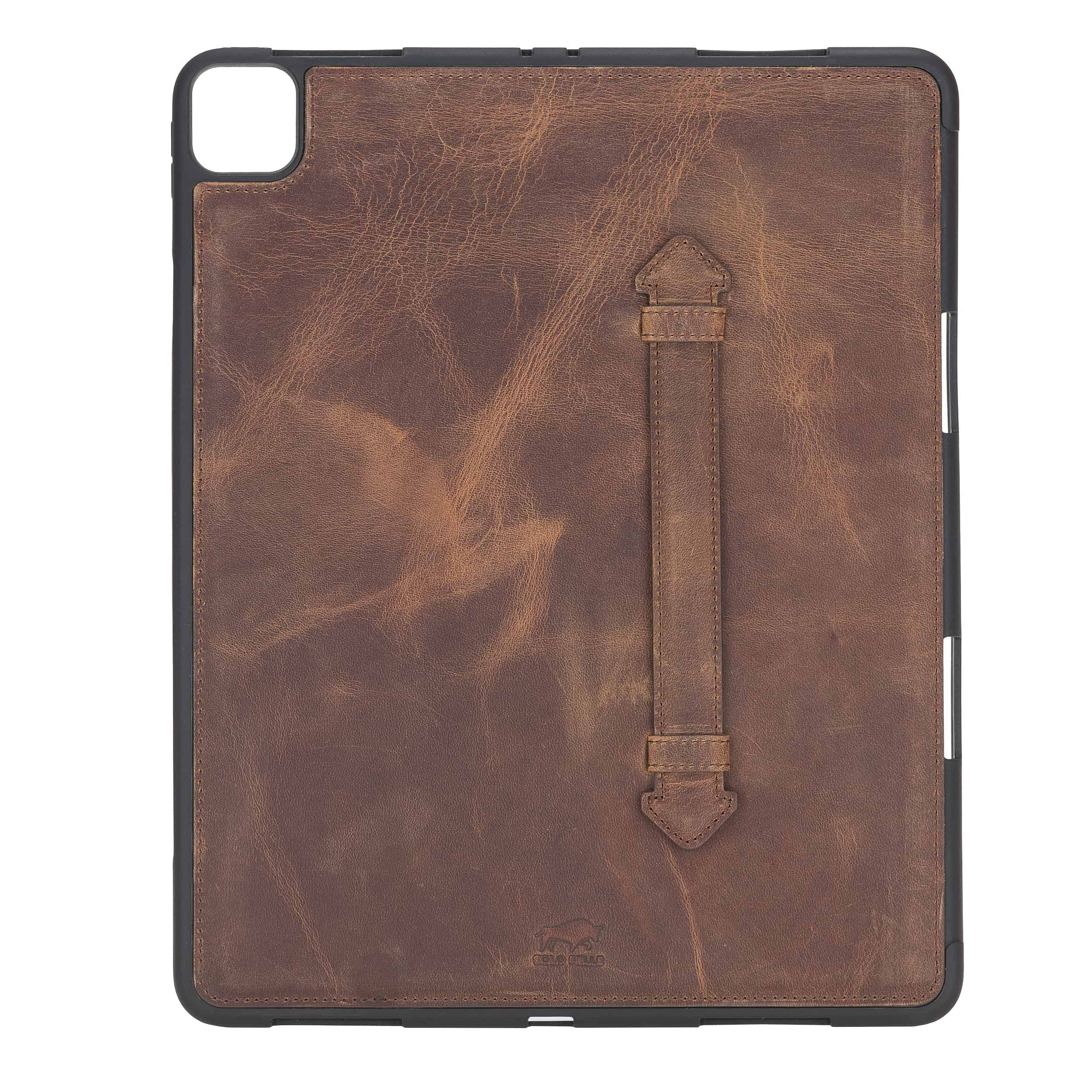 "Solo Pelle Hülle geeignet für Apple iPad Pro 12,9"" 2020 Echtleder Case aus echtem Leder. Unterstützt Pencil inkl. Ledergriff (Vintage Braun)"