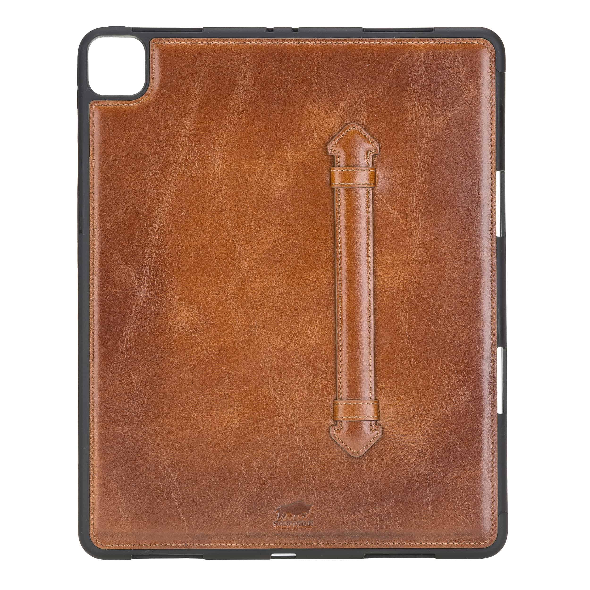 "Solo Pelle Hülle geeignet für Apple iPad Pro 12,9"" 2020 Echtleder Case aus echtem Leder. Unterstützt Pencil inkl. Ledergriff (Cognac Braun Effekt)"
