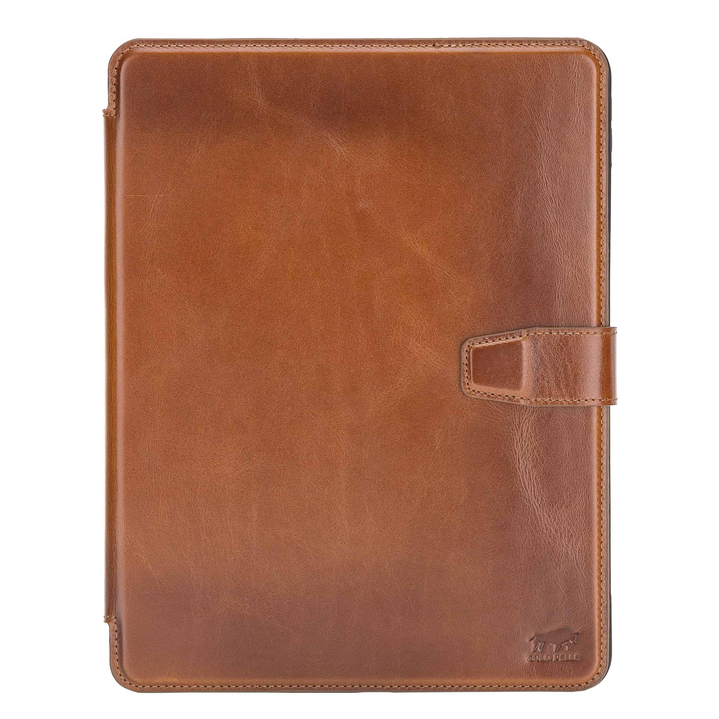 """Solo Pelle magnetische abnehmbare Hülle geeignet für Apple iPad Pro 11"""" 2020 Hülle Echtleder Case aus echtem Leder. Unterstützt Pencil 2 und magnetisches Laden (Cognac Braun Effekt)"""