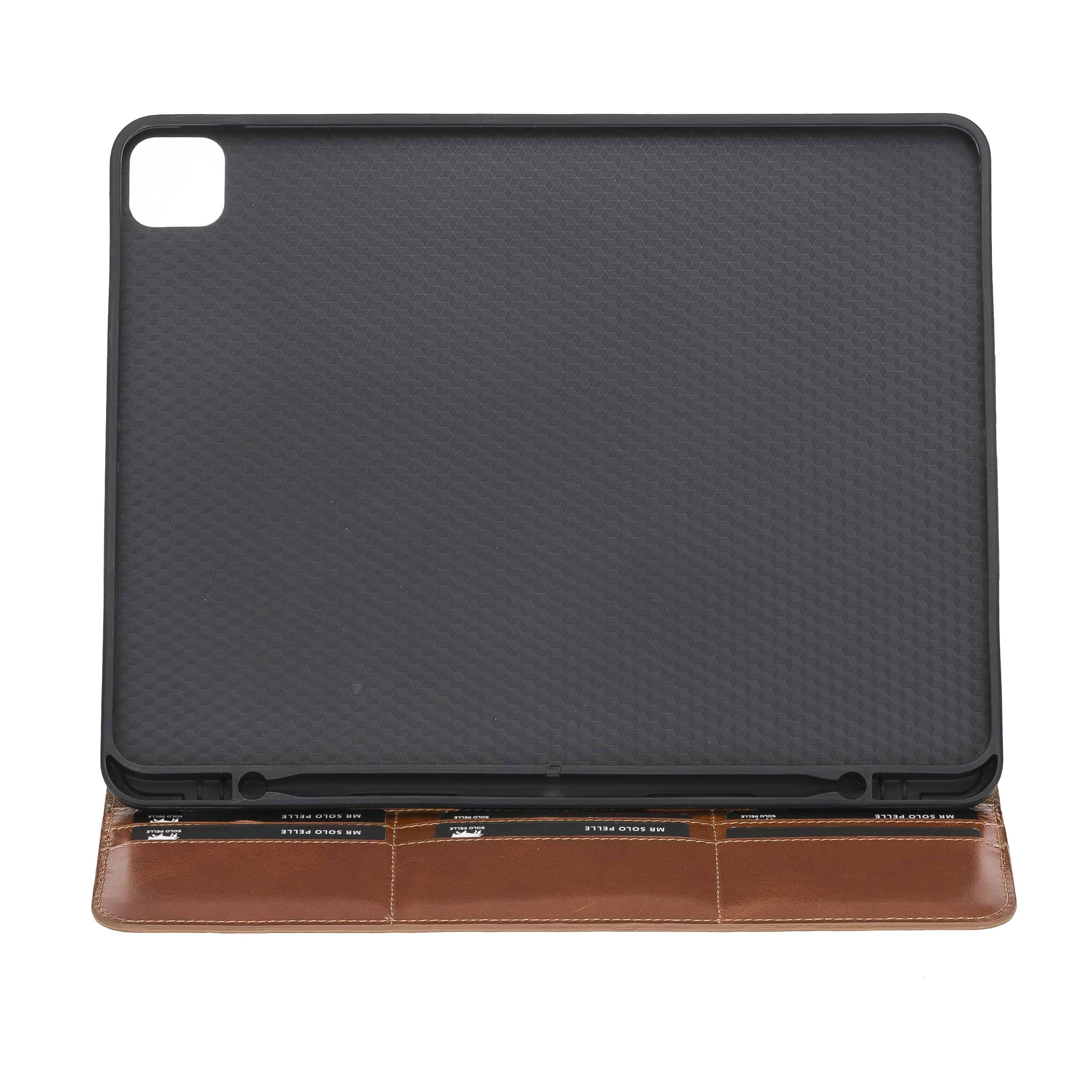 """Solo Pelle magnetische abnehmbare Hülle geeignet für Apple iPad Pro 12,9"""" 2020 Hülle Echtleder Case aus echtem Leder. Unterstützt Pencil 2 und magnetisches Laden (Cognac Braun Effekt)"""