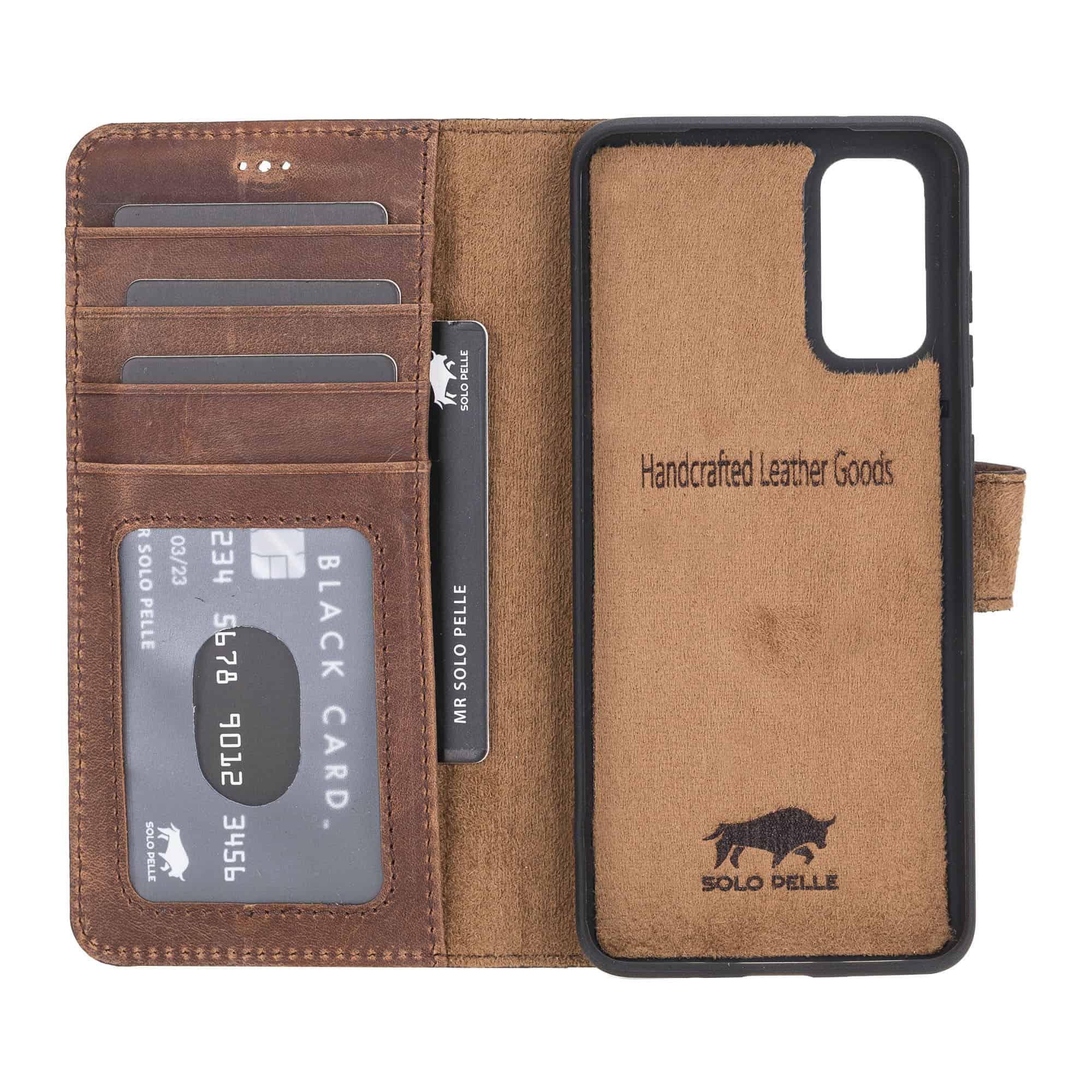 Solo Pelle Lederhülle Harvard kompatibel für das Samsung Galaxy Note20 I Note 20 inklusive abnehmbare Hülle mit integrierten Kartenfächer (Vintage Braun)
