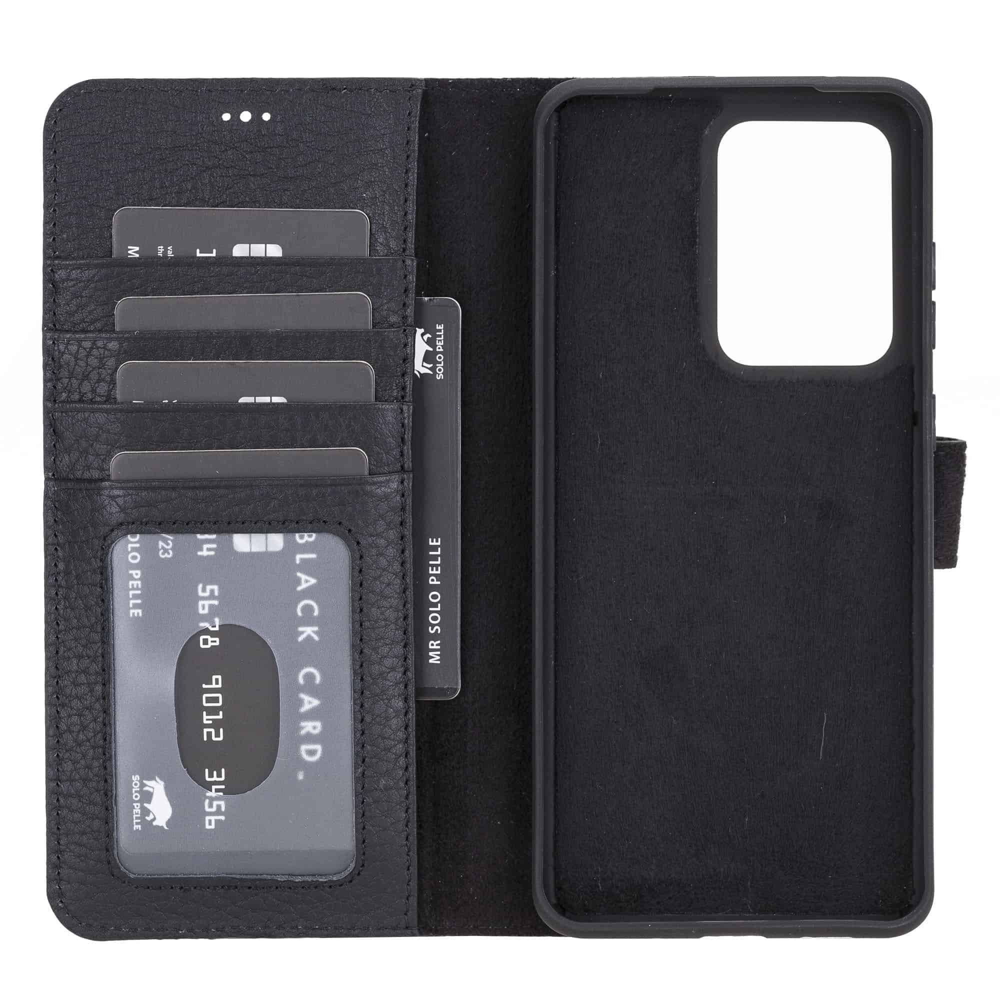 Solo Pelle Lederhülle Harvard kompatibel für das Samsung Galaxy Note 20 Ultra inklusive abnehmbare Hülle mit integrierten Kartenfächer (Matt Schwarz)