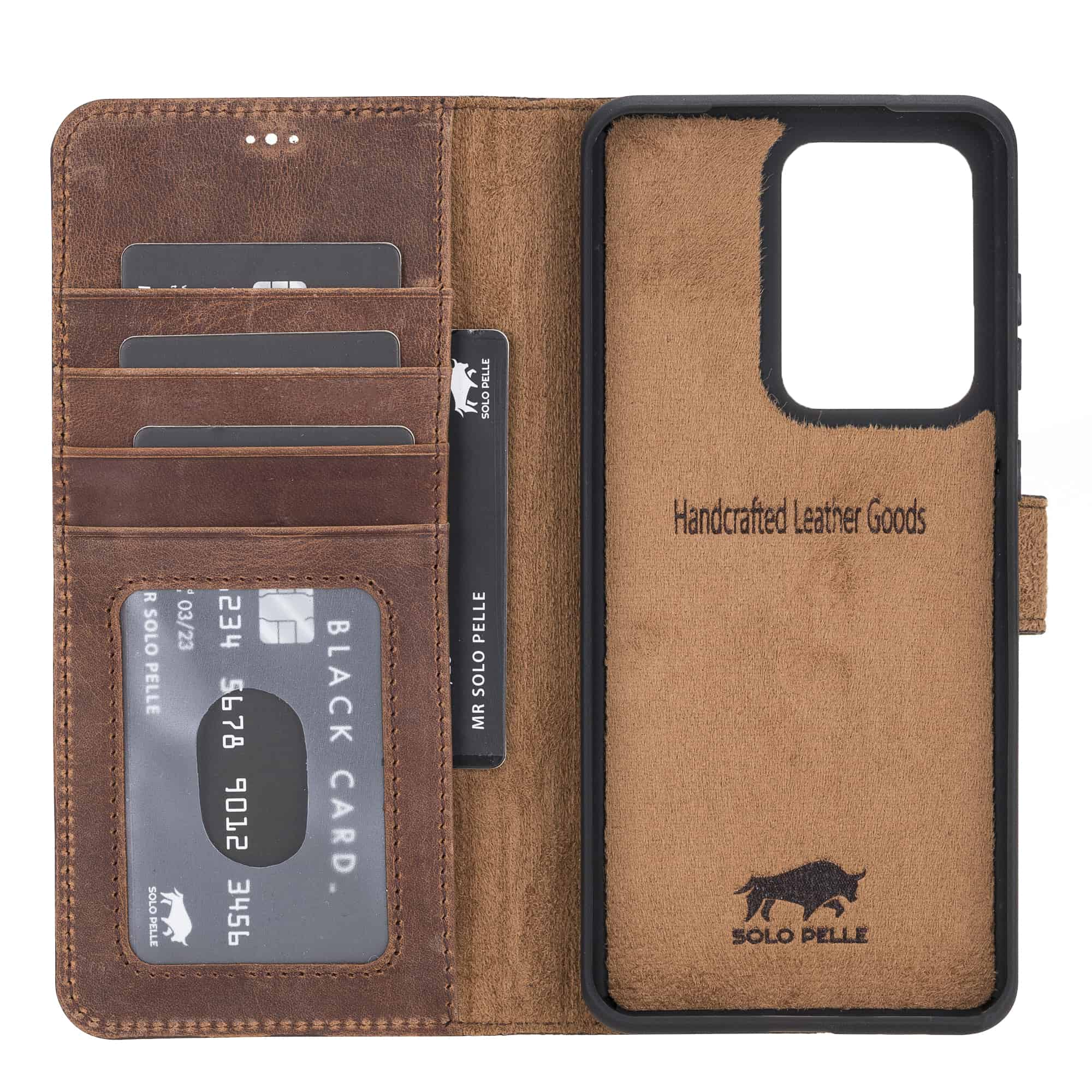 Solo Pelle Lederhülle Harvard kompatibel für das Samsung Galaxy Note 20 Ultra inklusive abnehmbare Hülle mit integrierten Kartenfächer (Vintage Braun)