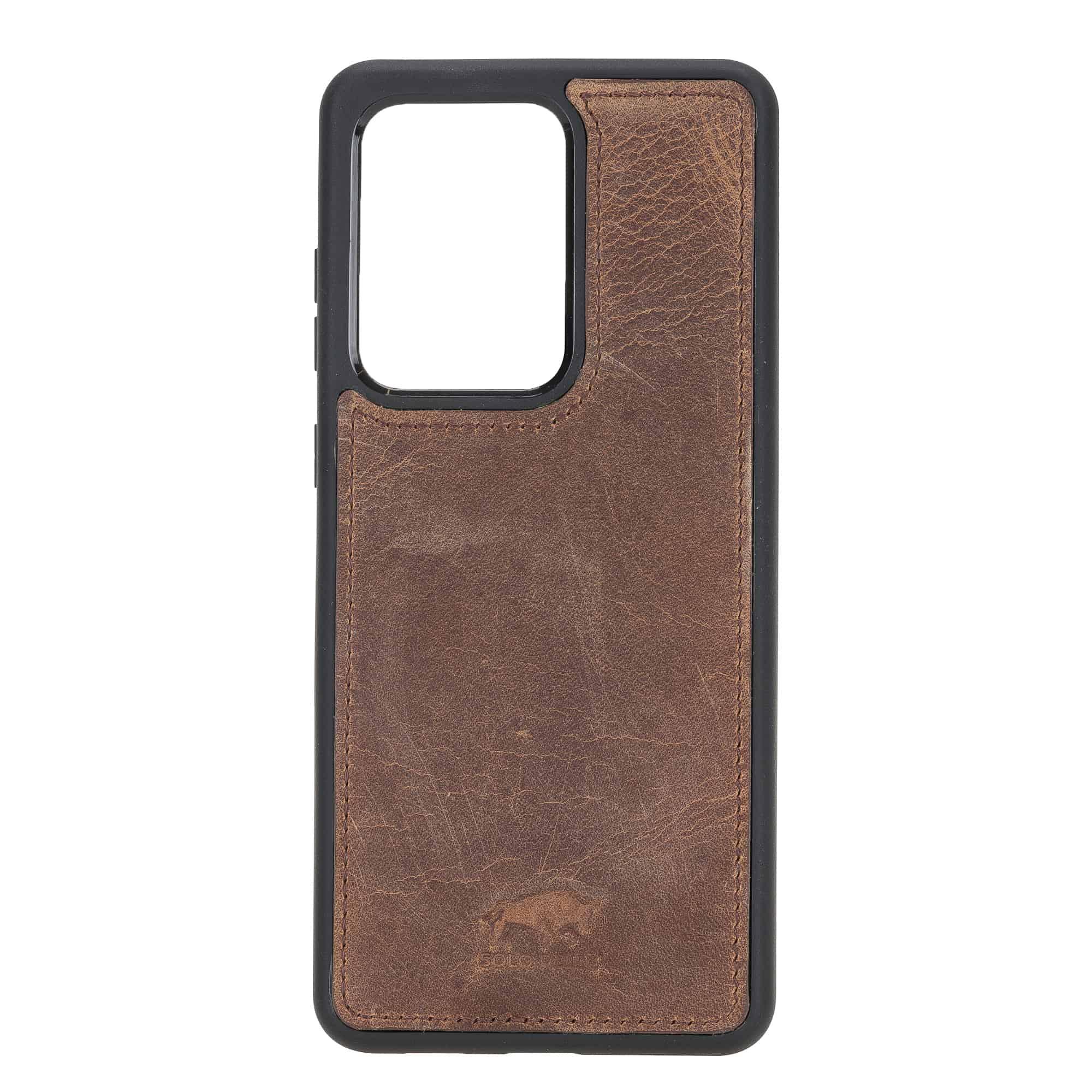Solo Pelle Lederhülle für das Samsung Galaxy Note 20 Ultra Hülle aus echtem Leder, Model: Stanford (Vintage Braun)