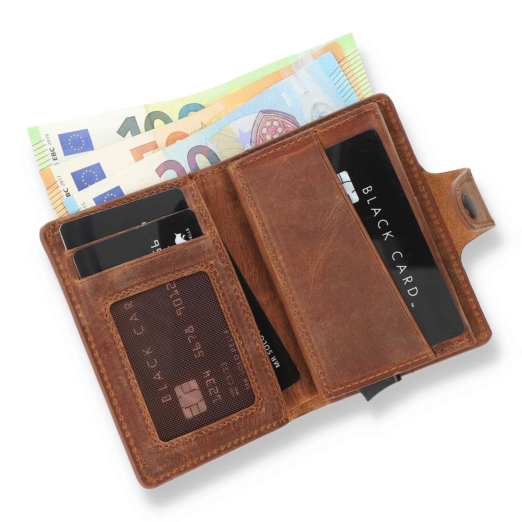 Solo Pelle Leder Geldbörse Q-Wallet mit integriertem Kartenetui für 15 Karten + Geldscheine geeignet   Kreditkartenetui mit RFID (Vintage Braun + abnehmbares Kartenetui)