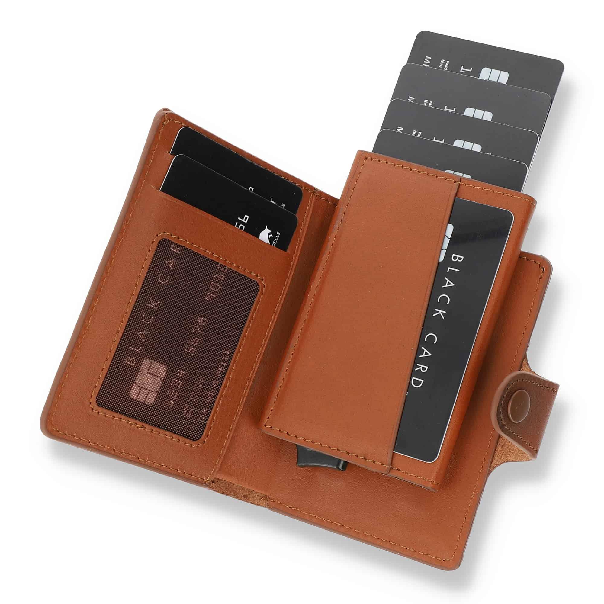 Solo Pelle Leder Geldbörse Q-Wallet mit integriertem Kartenetui für max 15 Karten + Geldscheine geeignet | Kreditkartenetui mit RFID (Cognac Braun + abnehmbares Kartenetui)
