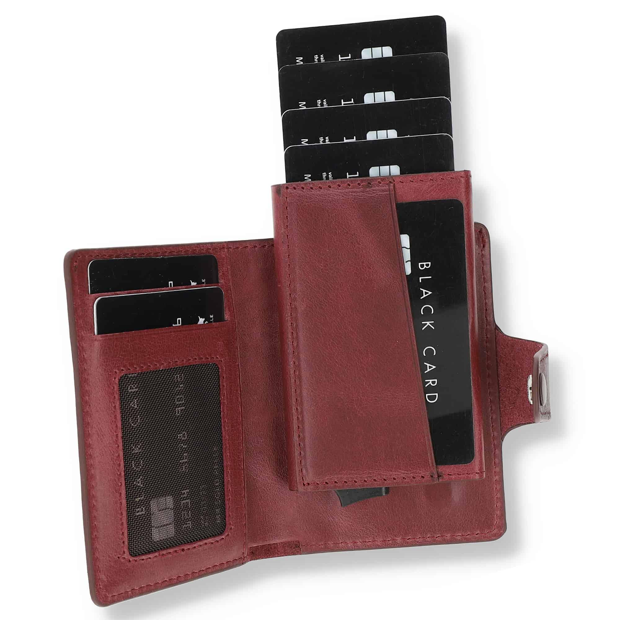 Solo Pelle Leder Geldbörse Q-Wallet mit integriertem Kartenetui für 15 Karten + Geldscheine geeignet | Kreditkartenetui mit RFID (Weinrot + abnehmbares Kartenetui)