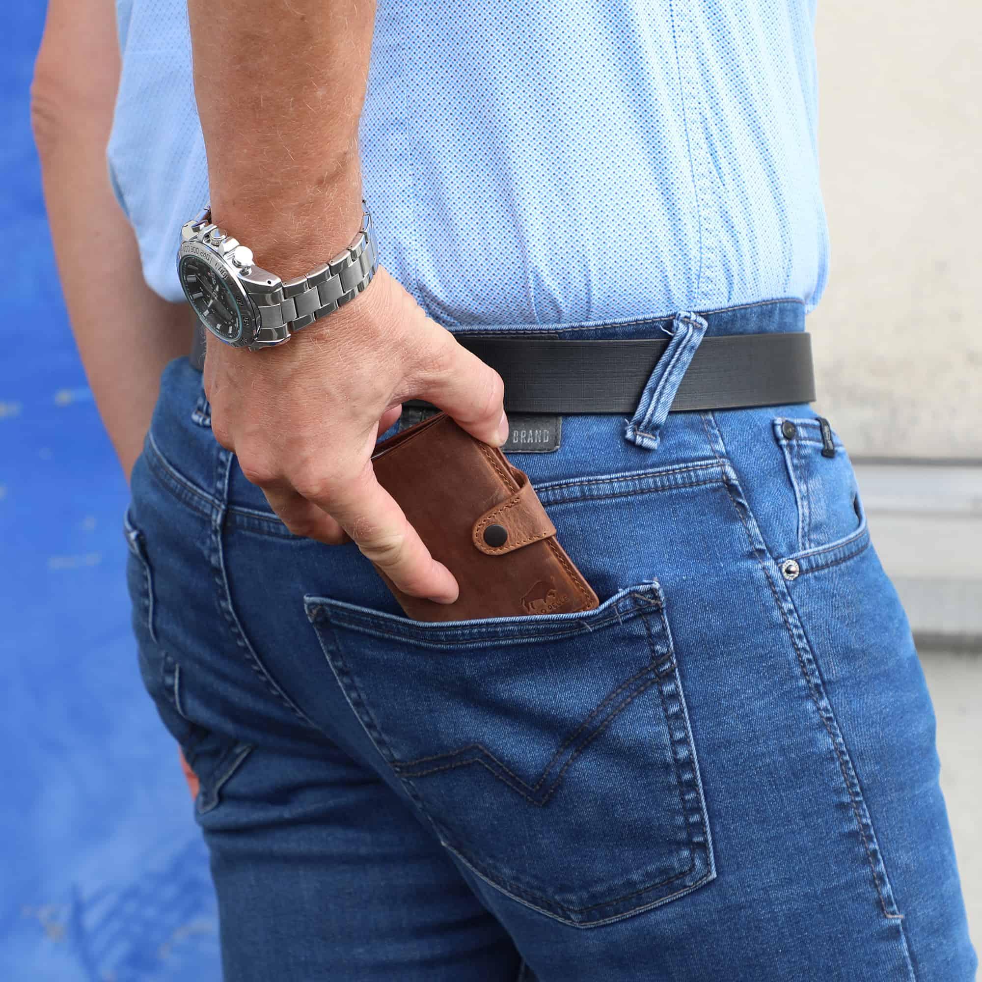 Solo Pelle Leder Geldbörse Q-Wallet mit integriertem Kartenetui für 15 Karten + Geldscheine geeignet | Kreditkartenetui mit RFID (Vintage Braun + abnehmbares Kartenetui)
