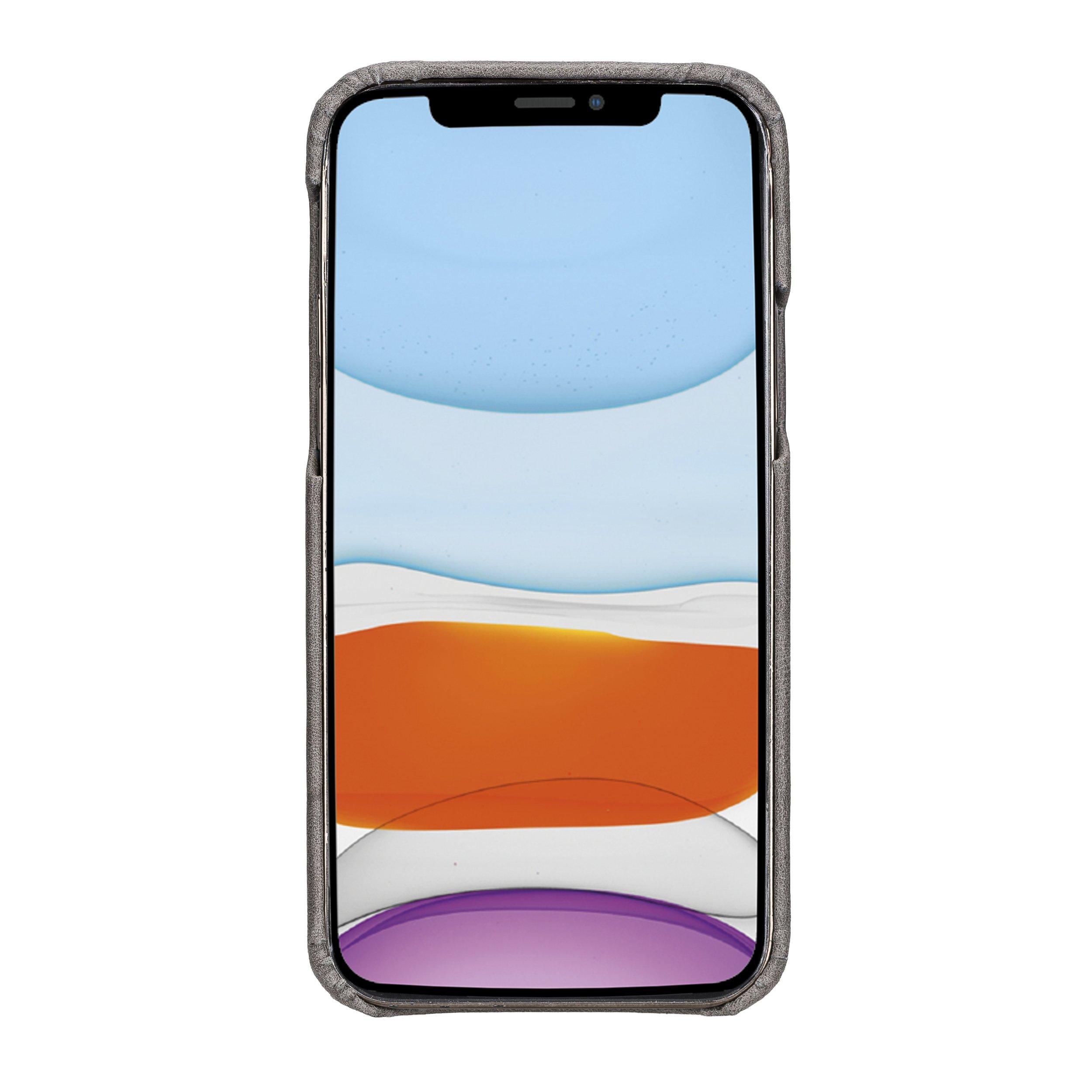 "iPhone 12 | 12 Pro Lederhülle ""Princeton"" MagSafe kompatibel (Steingrau)"