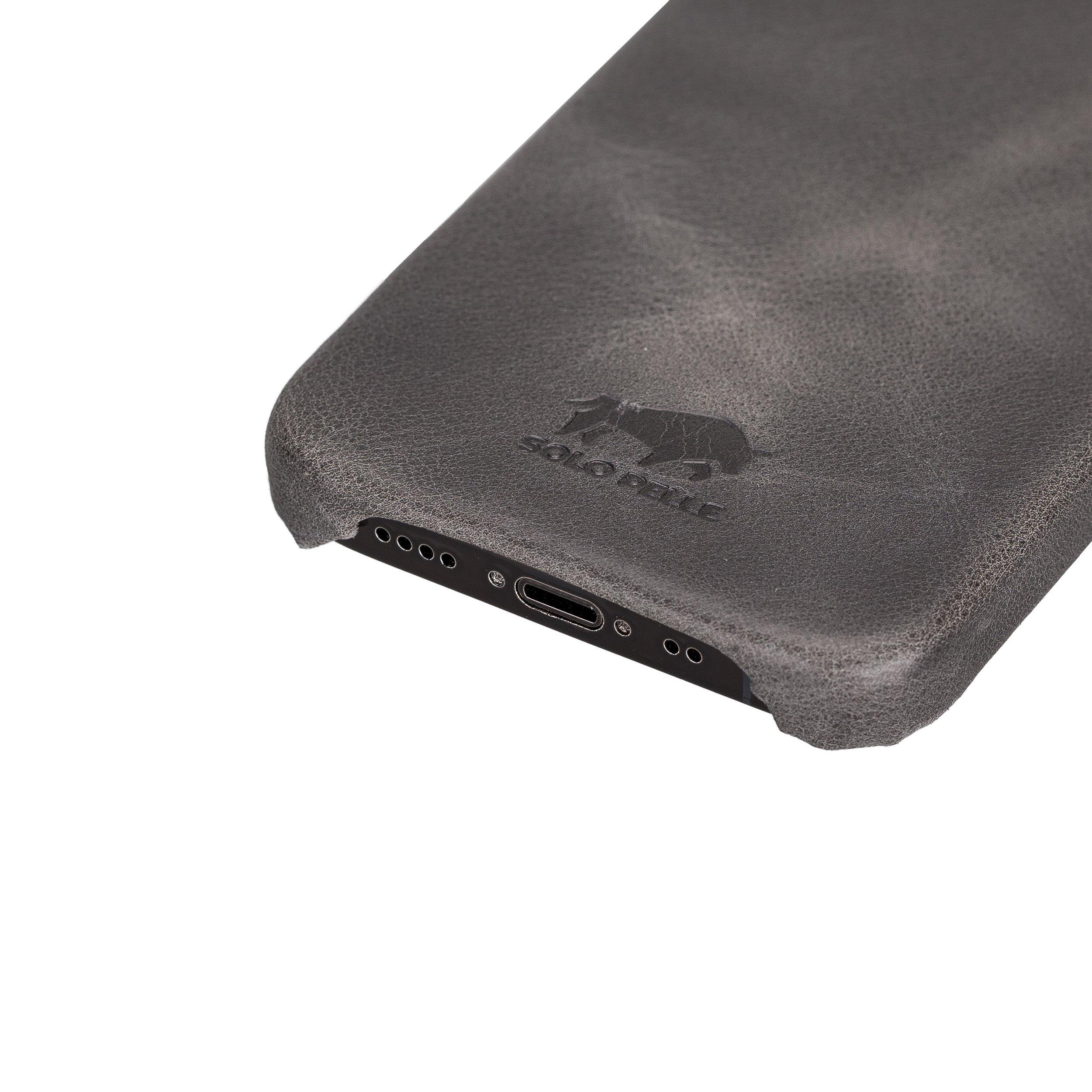 Solo Pelle Lederhülle für das Apple iPhone 12 Mini in 5.4 Zoll Princeton Case Leder Hülle Ledertasche Backcover aus echtem Leder (Rot Effekt)