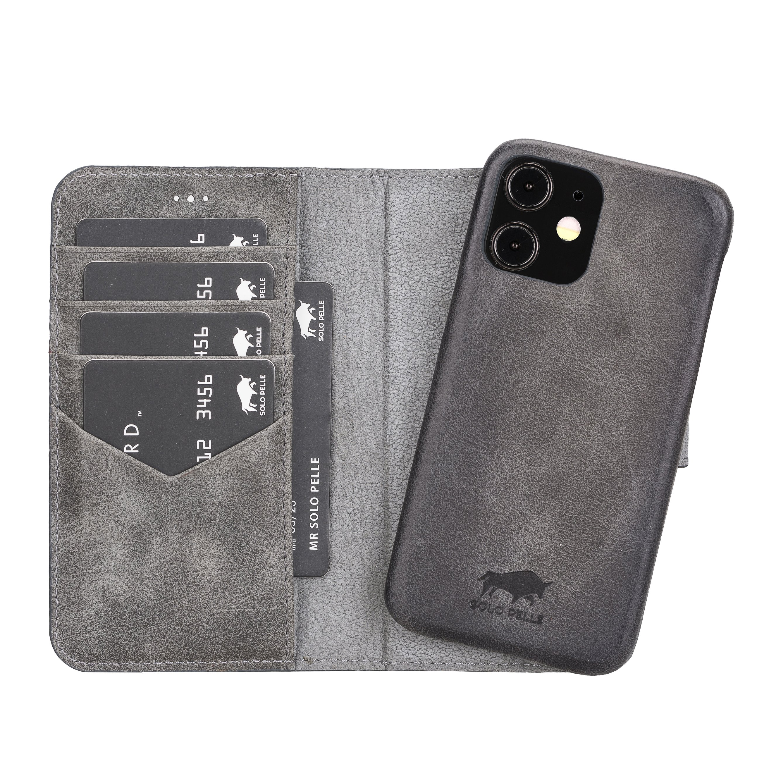 "iPhone 12 Mini abnehmbare Lederhülle ""Clemson"" MagSafe kompatibel (Vollleder Steingrau)"
