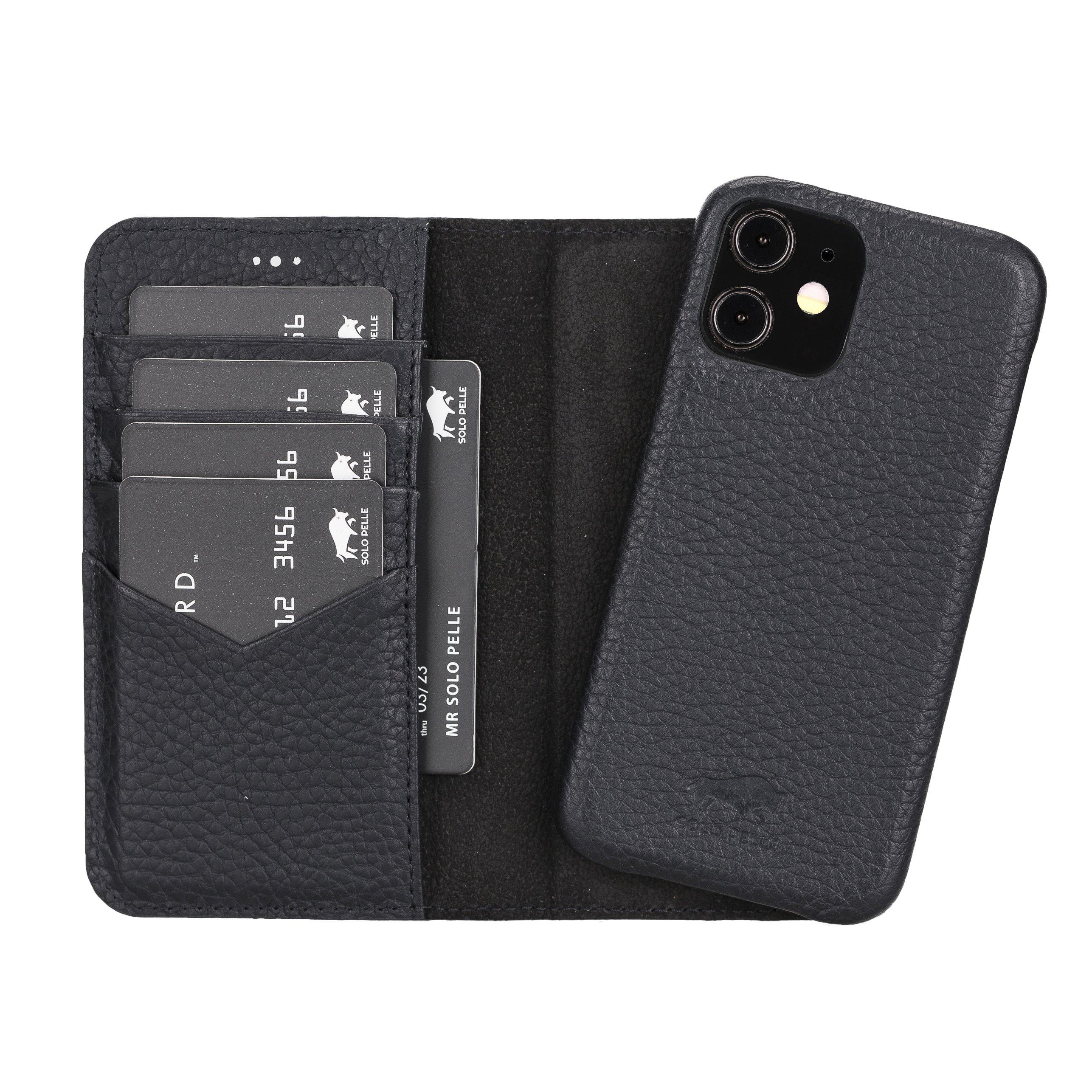 "iPhone 12 Mini abnehmbare Lederhülle ""Clemson"" MagSafe kompatibel (Vollleder Matt Schwarz)"