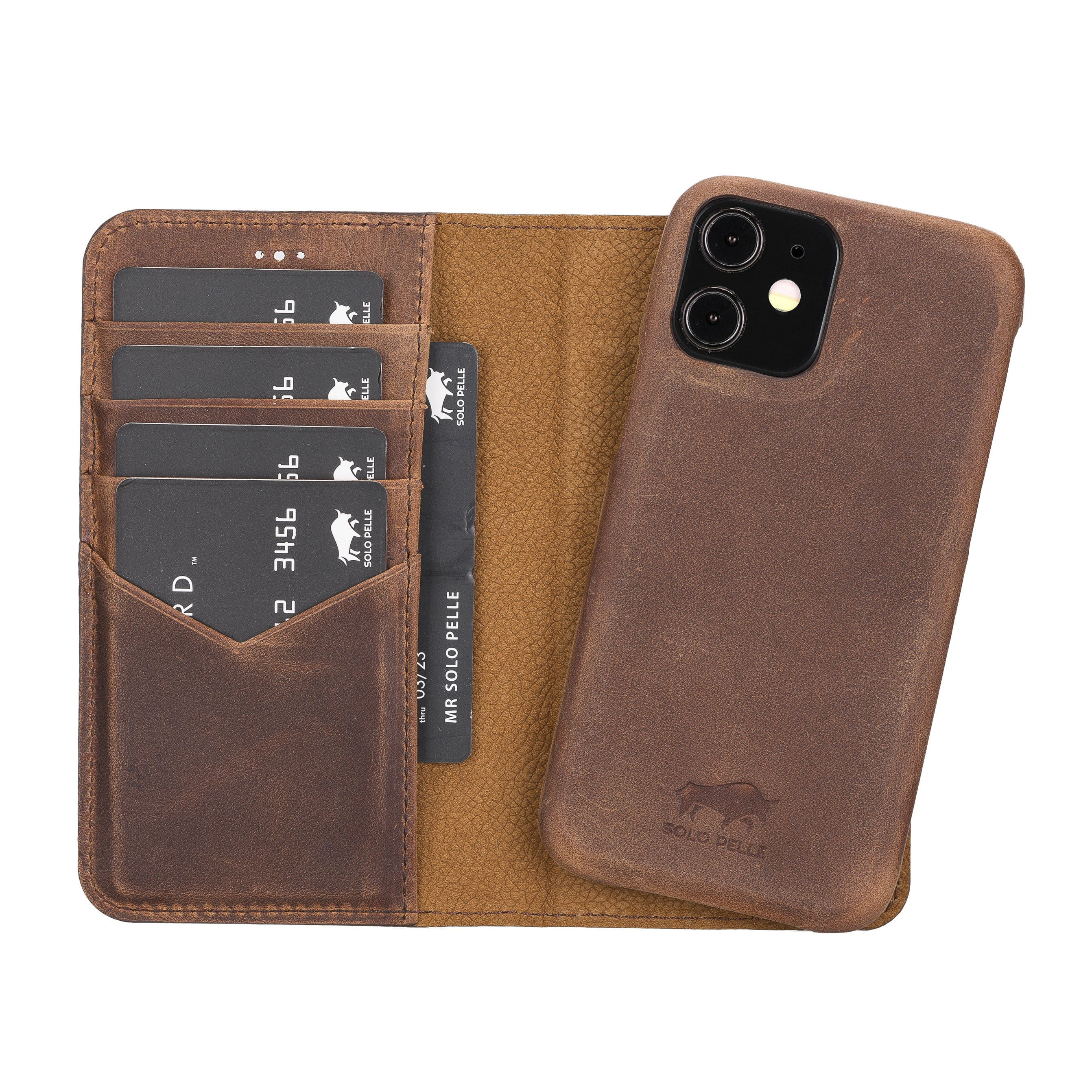 "iPhone 12 Mini abnehmbare Lederhülle ""Clemson"" MagSafe kompatibel (Vollleder Vintage Braun)"