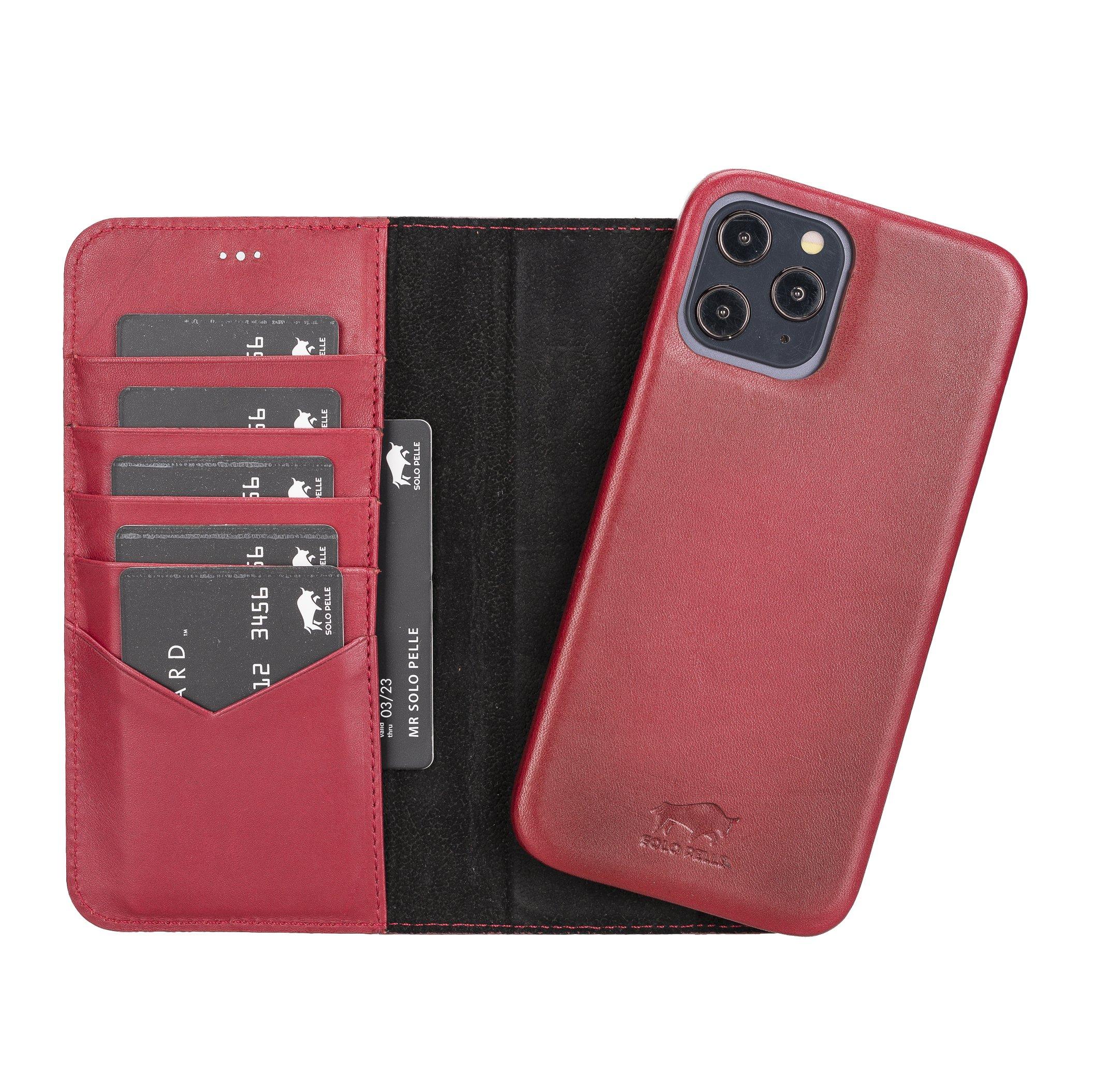 Solo Pelle Lederhülle kompatibel für iPhone 12 Pro Max in 6.7 Zoll abnehmbare Hülle (2in1) inkl. Kartenfächer für das original Apple iPhone 12 Pro Max (Vollleder Rot Effekt)