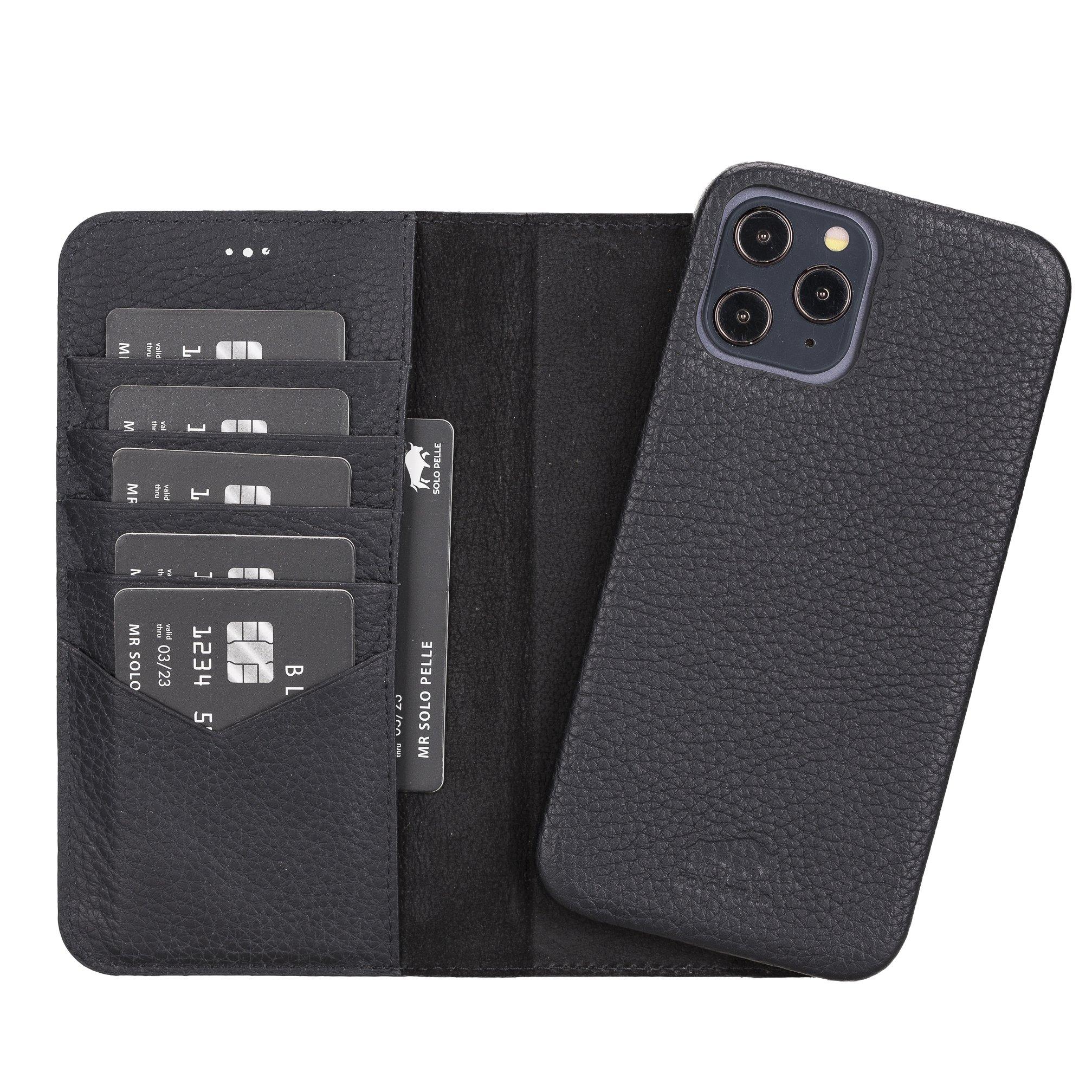 "iPhone 12 Pro Max abnehmbare Lederhülle ""Clemson"" MagSafe kompatibel (Vollleder Matt Schwarz)"