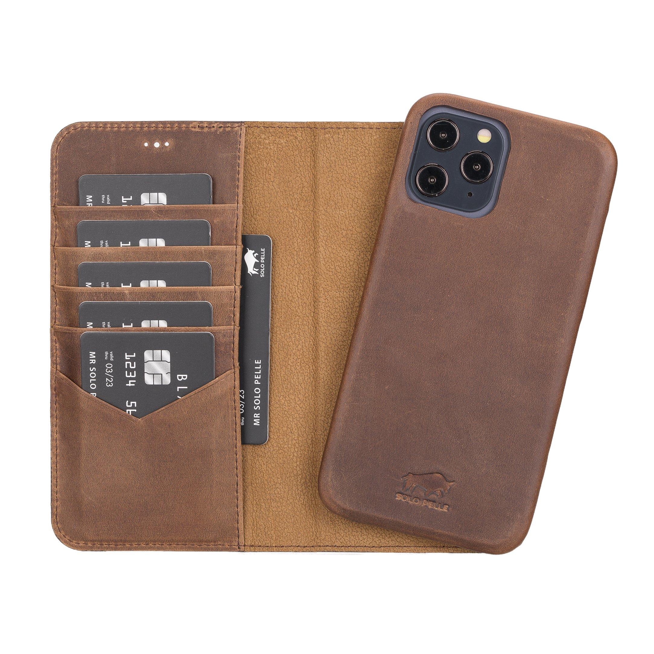"iPhone 12 Pro Max abnehmbare Lederhülle ""Clemson"" MagSafe kompatibel (Vollleder Vintage Braun)"