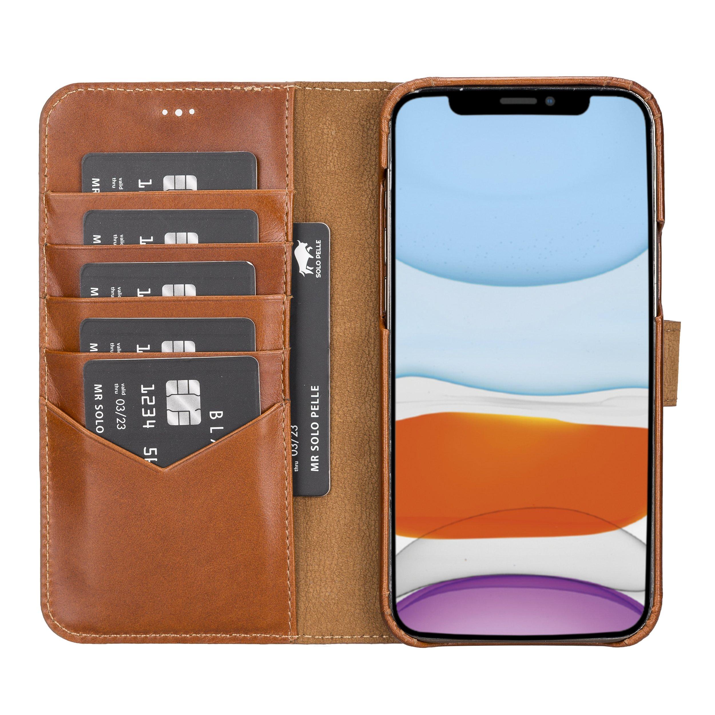 "iPhone 12   12 Pro abnehmbare Lederhülle ""Clemson"" MagSafe kompatibel (Vollleder Cognac Braun Burned)"