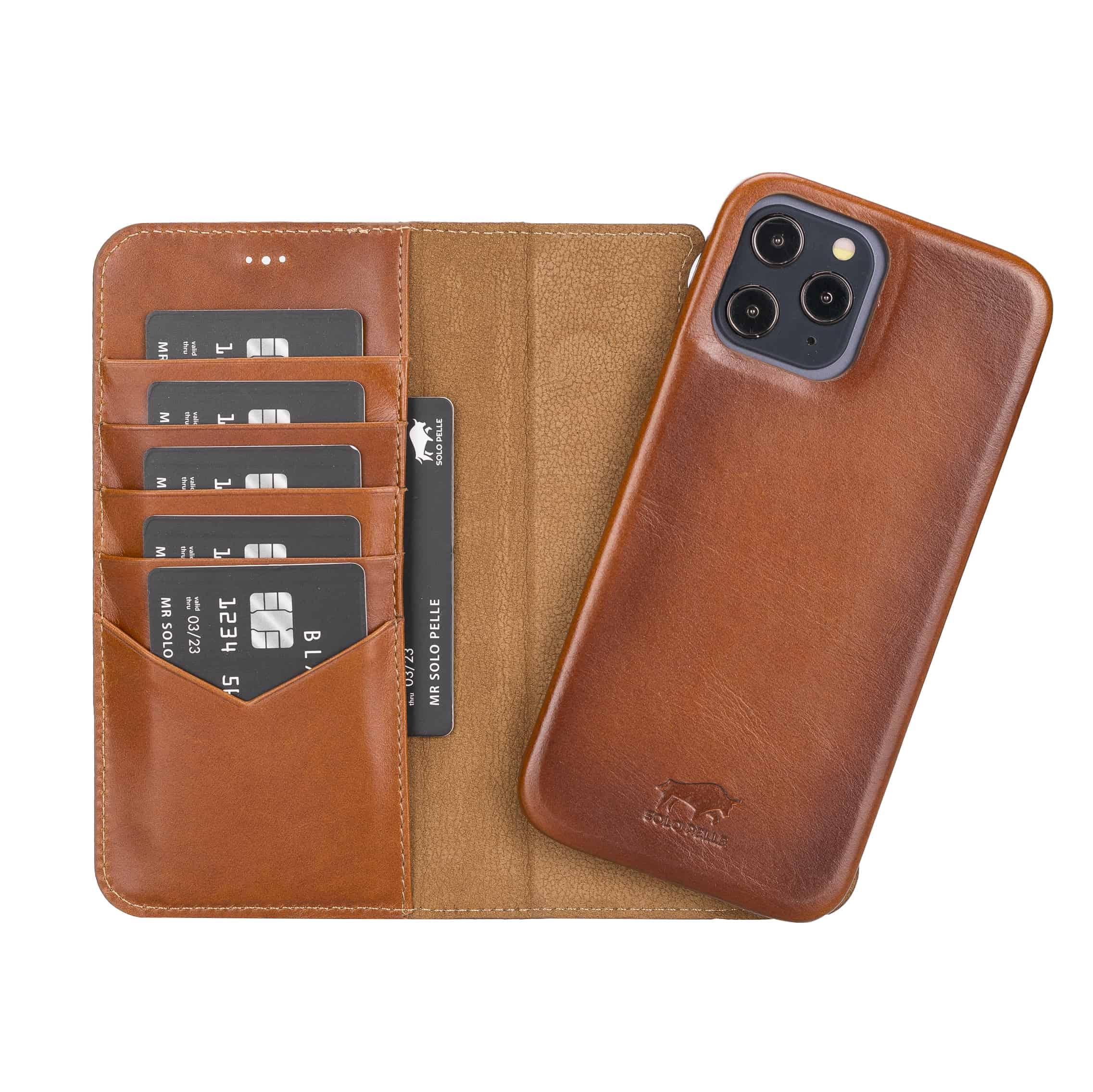 "iPhone 12 Pro Max abnehmbare Lederhülle ""Clemson"" MagSafe kompatibel (Vollleder Cognac Braun)"
