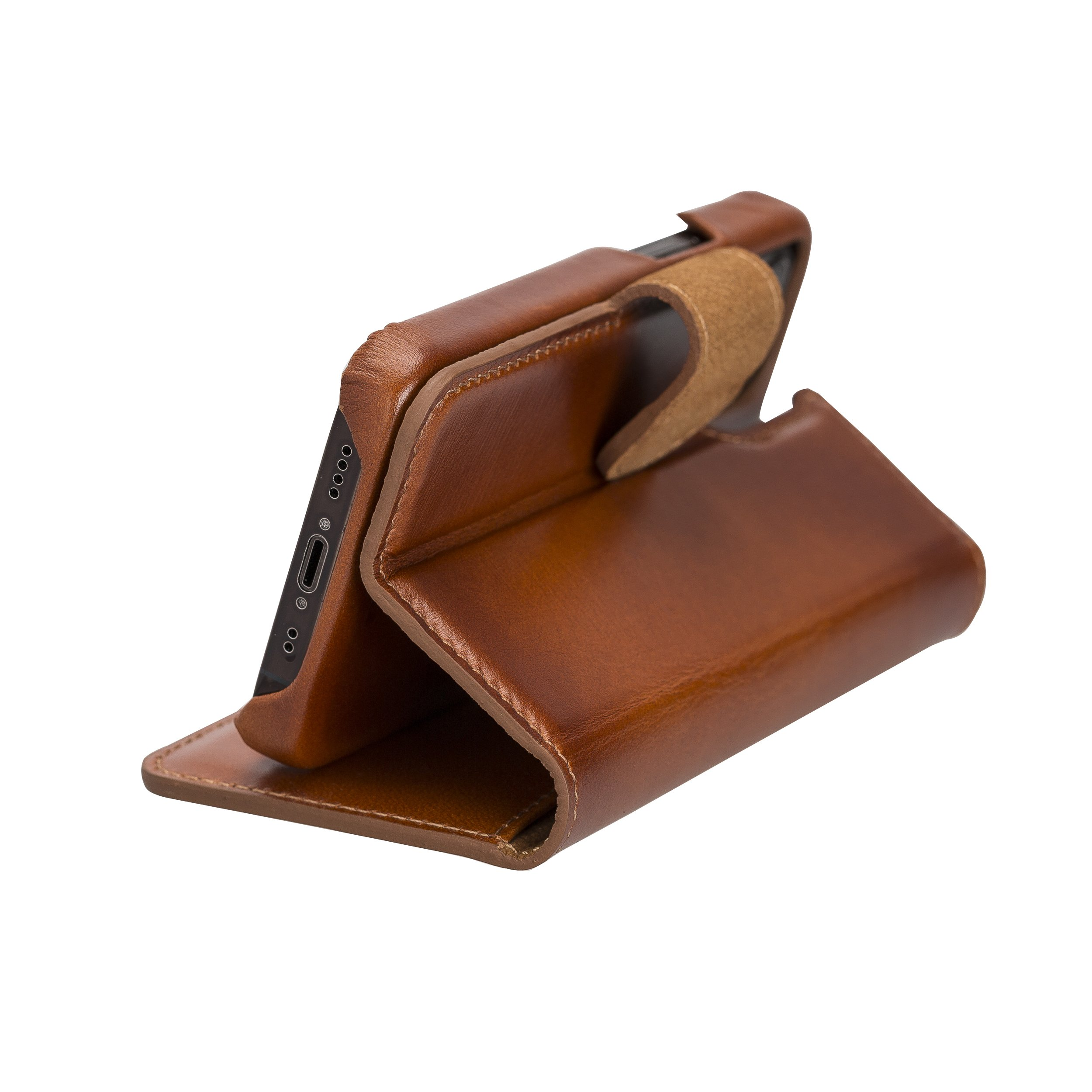 "iPhone 12 Mini abnehmbare Lederhülle ""Clemson"" MagSafe kompatibel (Vollleder Cognac Braun)"