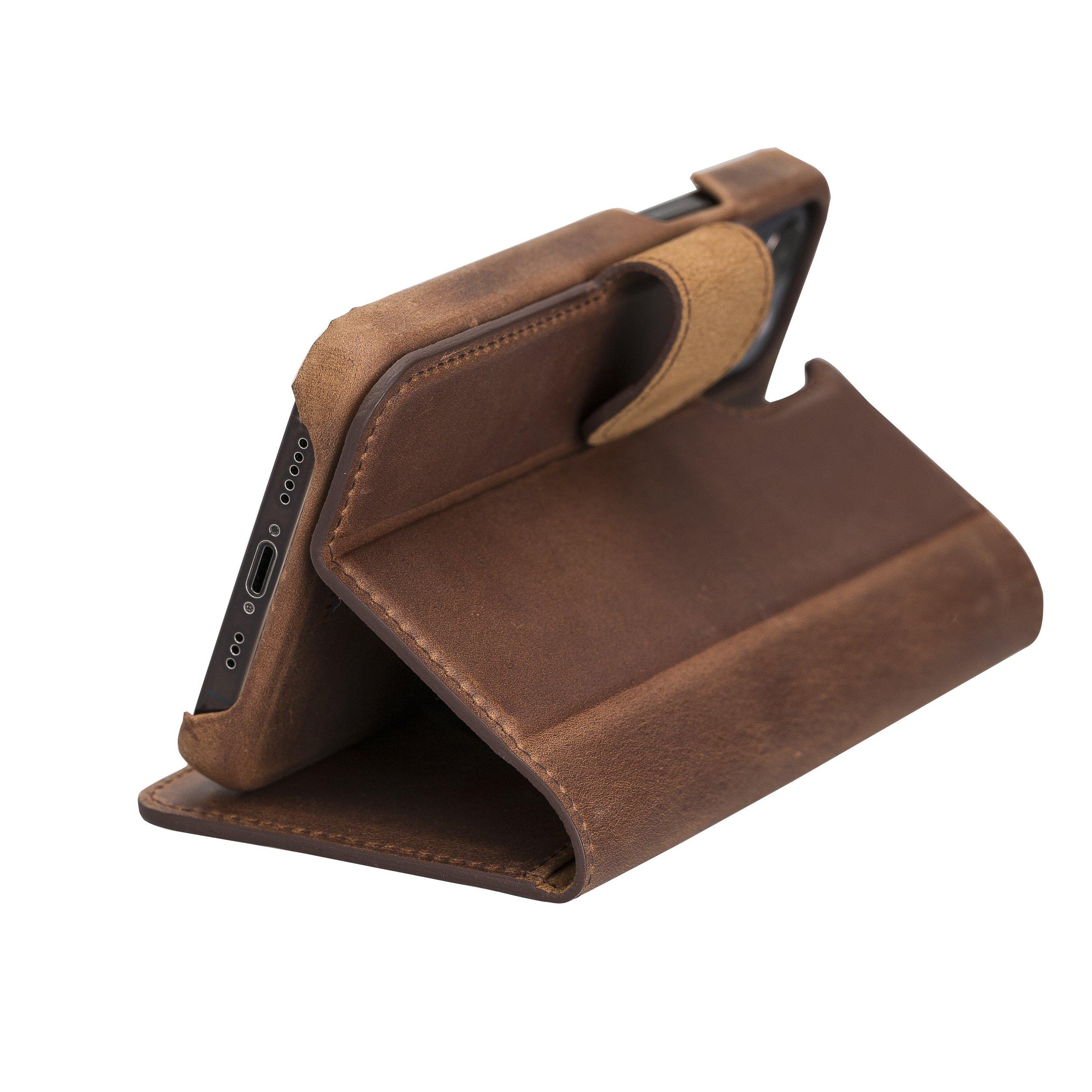 "iPhone 12 | 12 Pro abnehmbare Lederhülle ""Clemson"" MagSafe kompatibel (Vollleder Vintage Braun)"