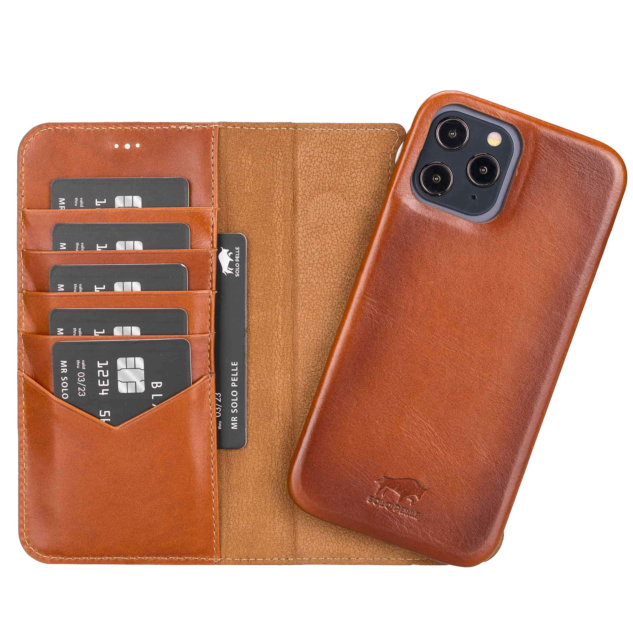 "iPhone 12 | 12 Pro abnehmbare Lederhülle ""Clemson"" MagSafe kompatibel (Vollleder Cognac Braun Burned)"