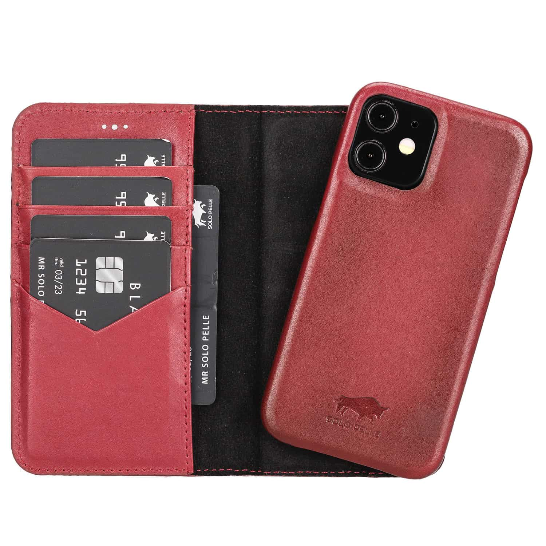 "iPhone 12 Mini abnehmbare Lederhülle ""Clemson"" MagSafe kompatibel (Vollleder Rot Effekt)"