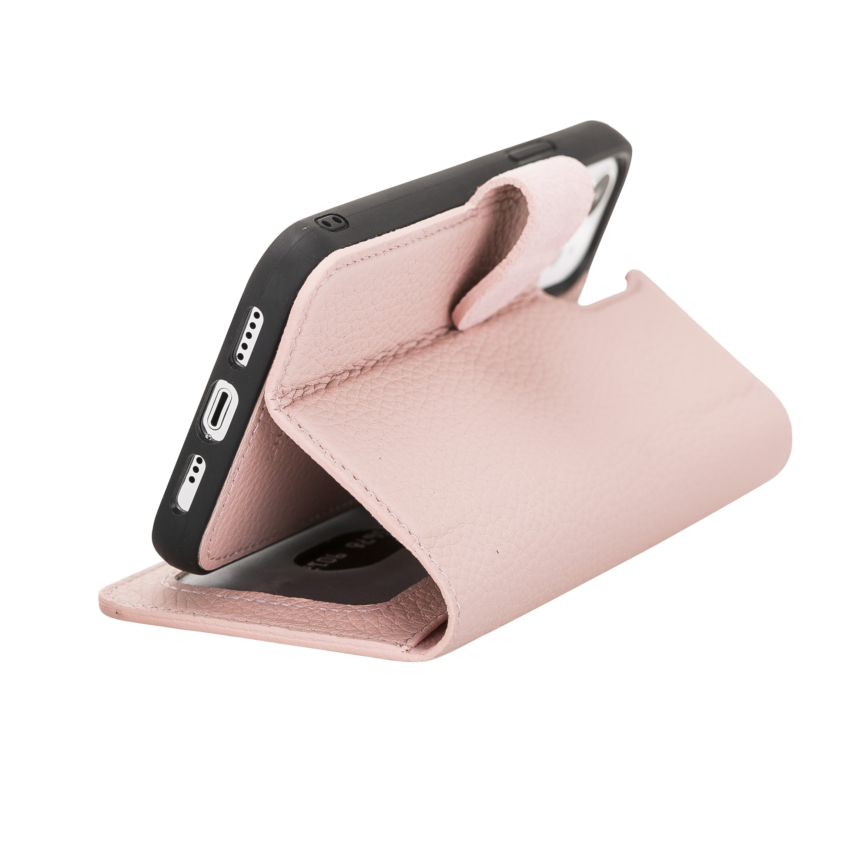 "iPhone 12 Pro Max abnehmbare Lederhülle ""Harvard"" MagSafe kompatibel (Nude Rosa)"