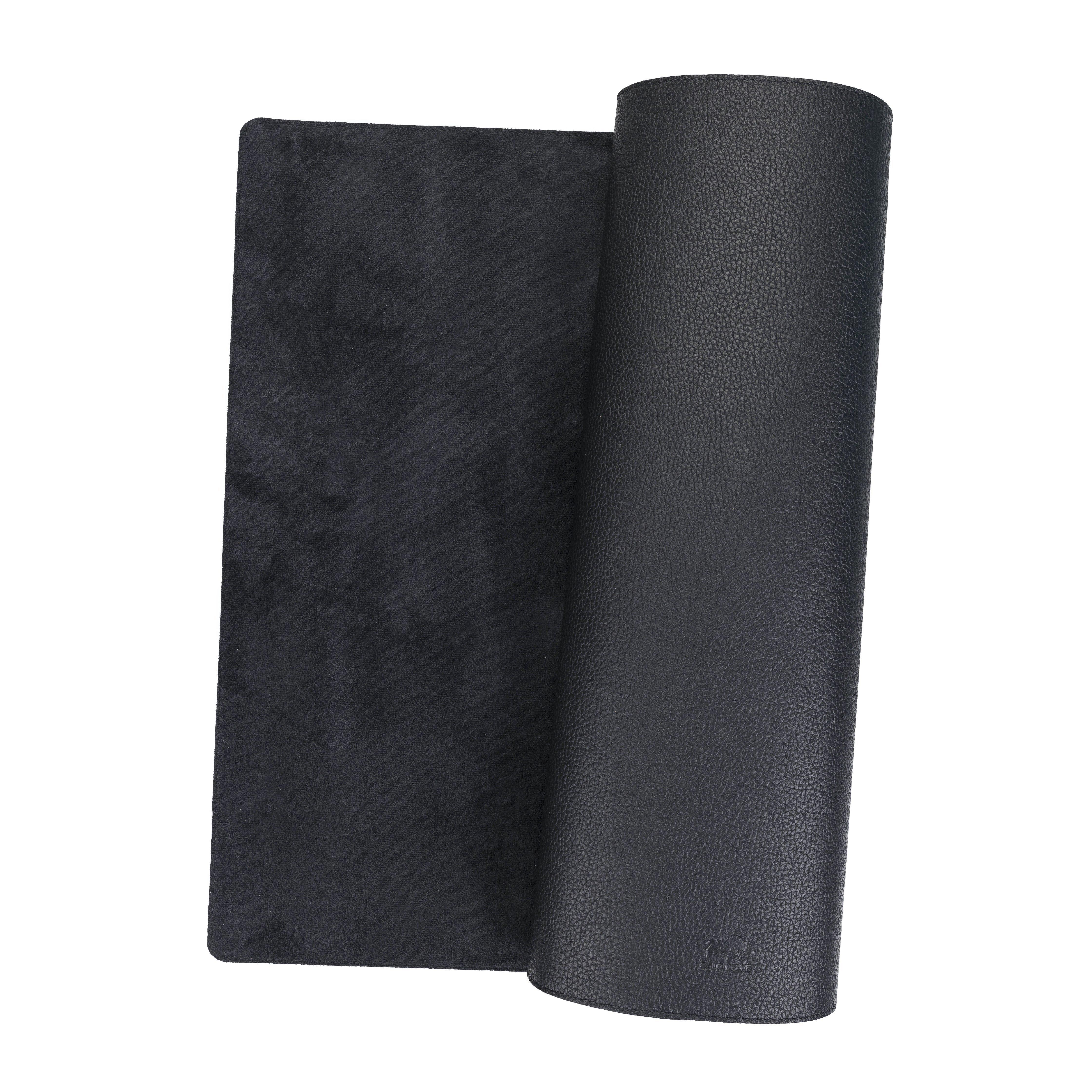 Hochwertige Schreibtischunterlage Leder für Bürotisch (Matt Schwarz, 48cm x 90cm)