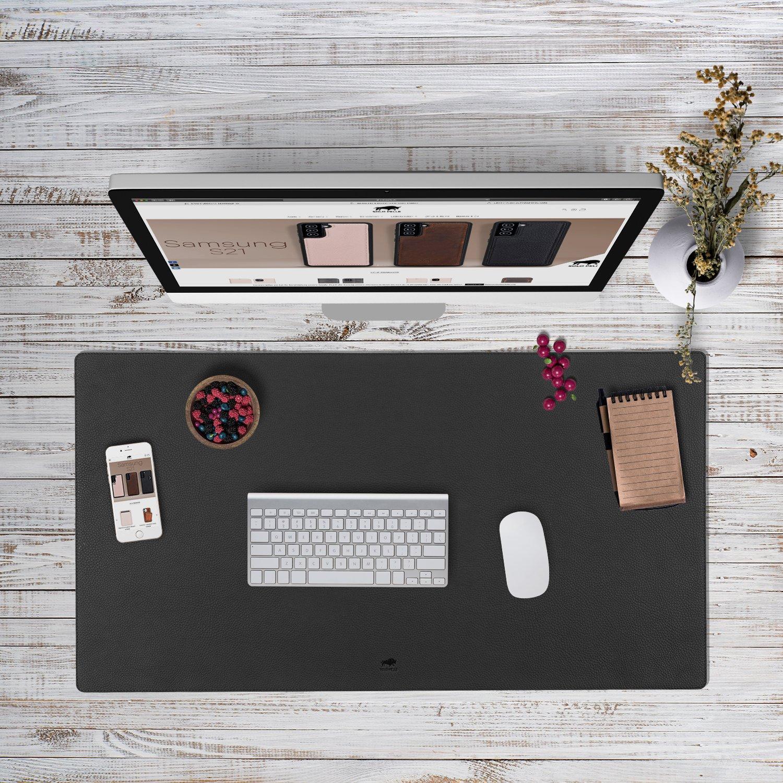 Hochwertige Schreibtischunterlage Leder für Bürotisch - handgefertigte Schreibunterlage aus Leder (Steingrau, 48cm x 90cm)